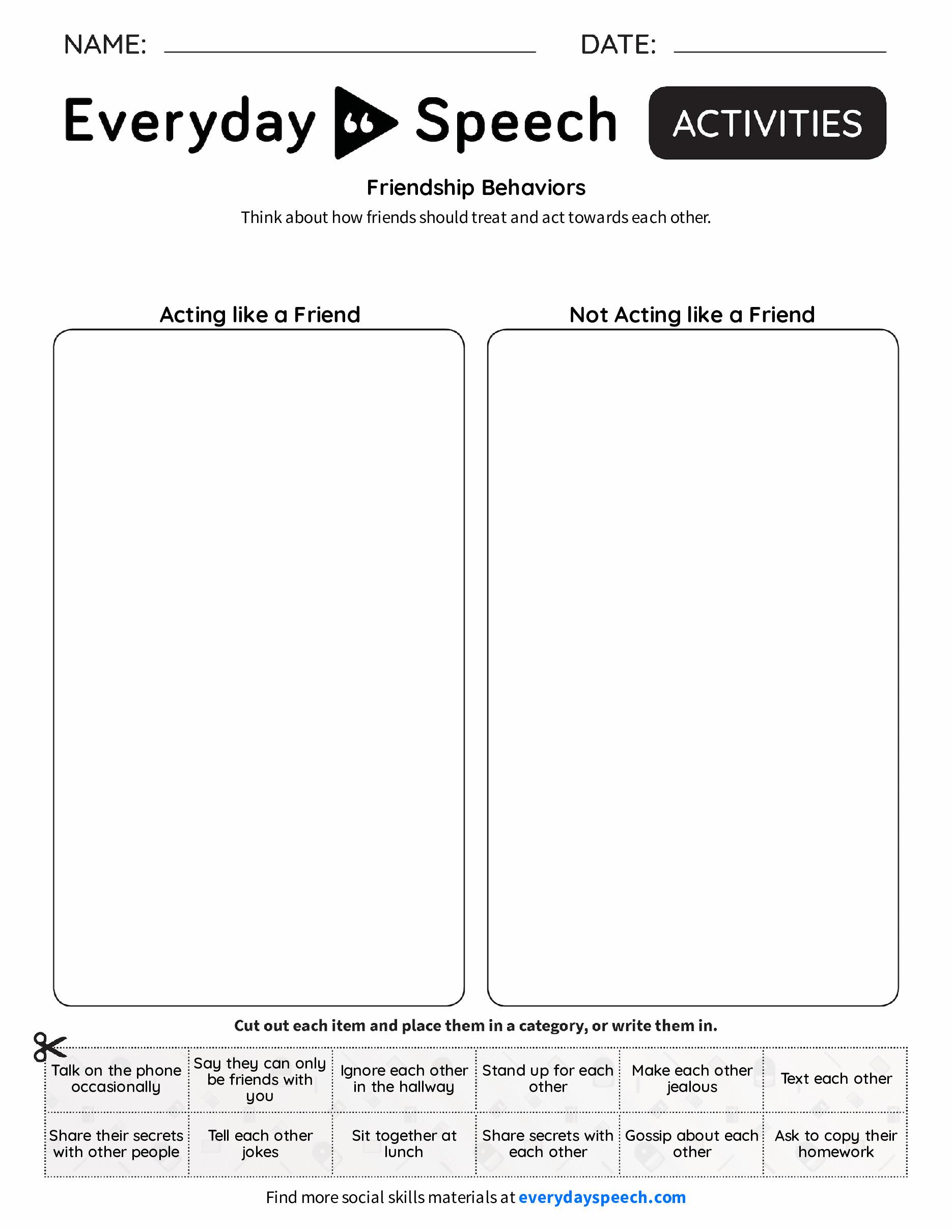 Friendship Behaviors - Everyday Speech - Everyday Speech