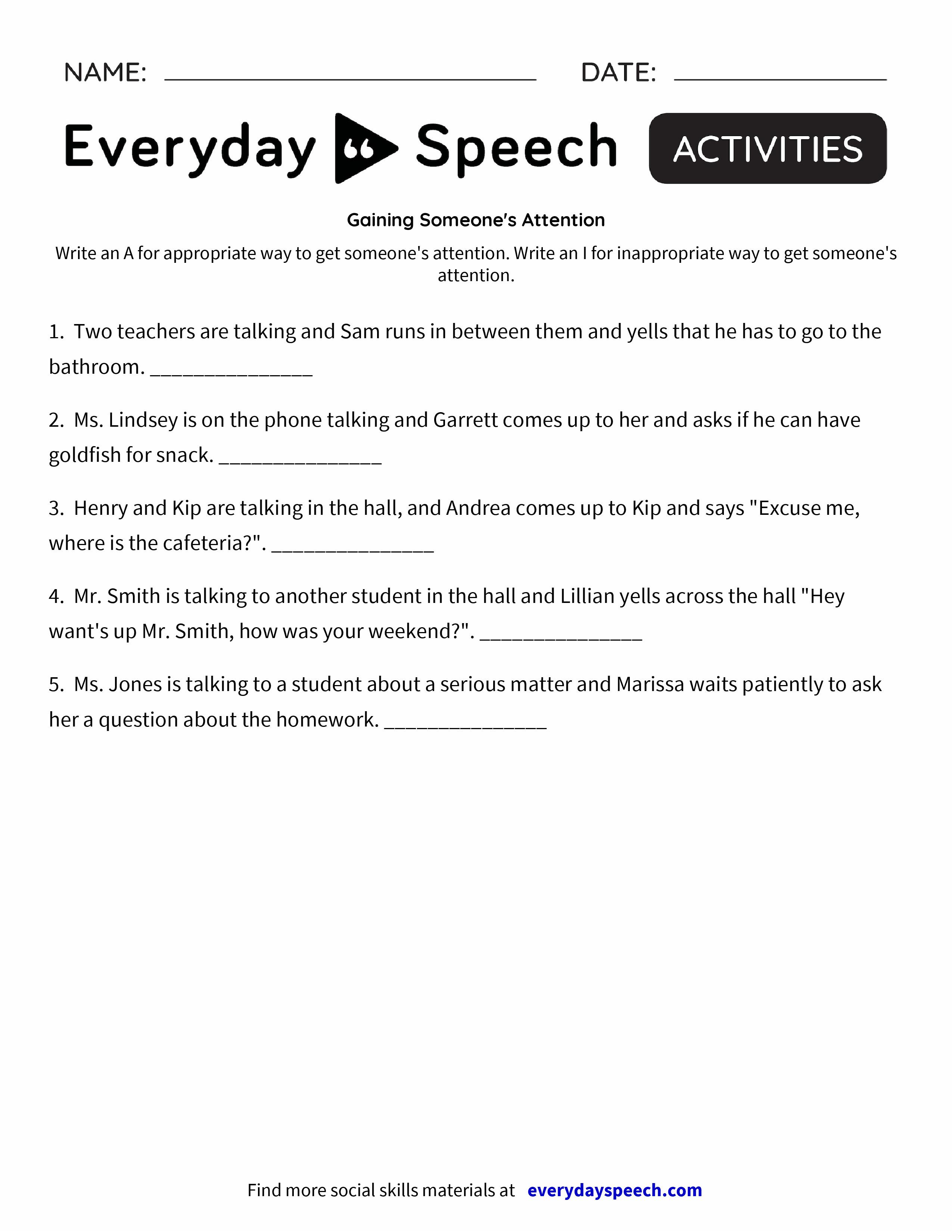 Getting the Teacher's Attention Exit Slip - Everyday Speech ...