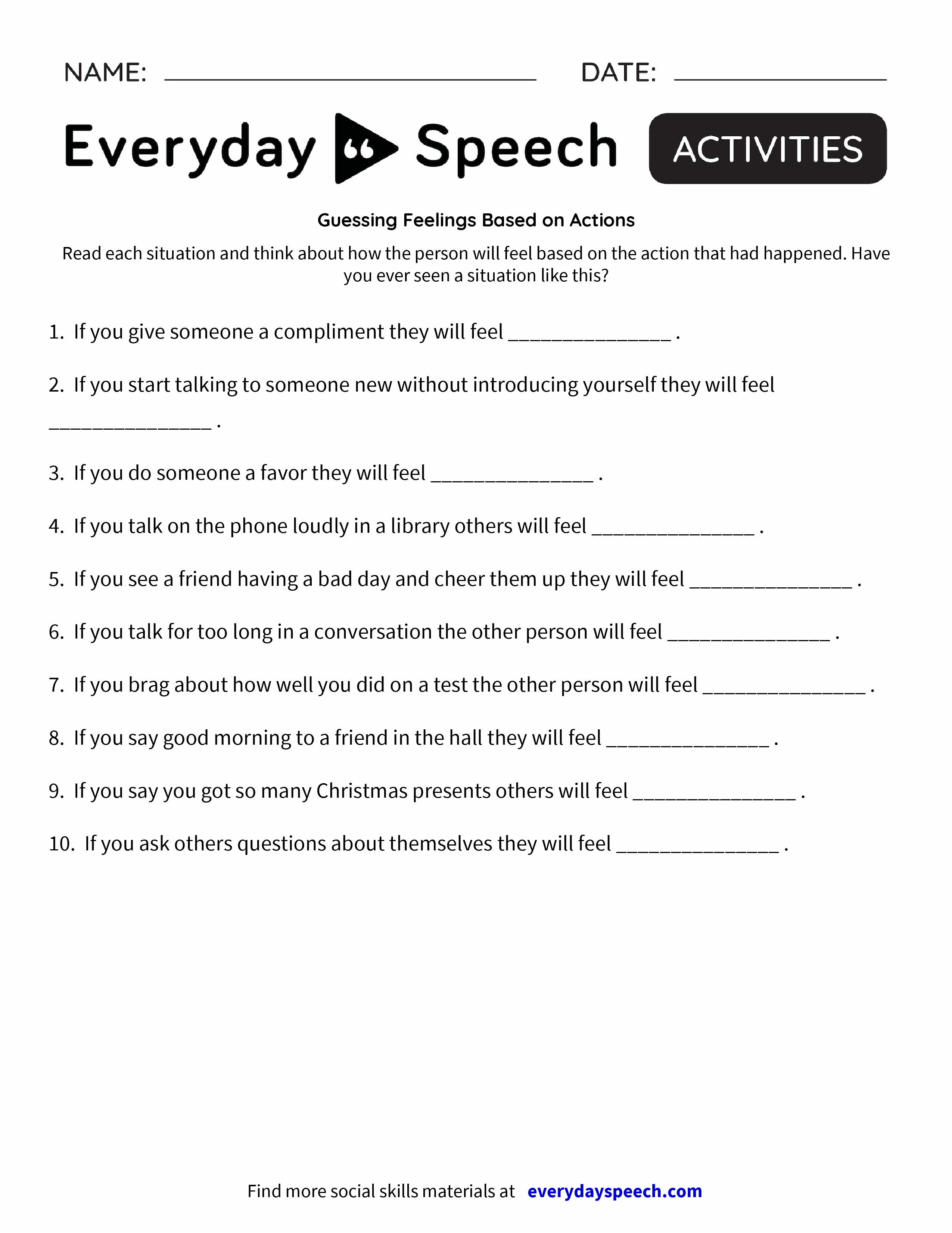 worksheet Healthy Relationship Worksheets 200 most downloaded worksheets everyday speech guessing feelings based on actions
