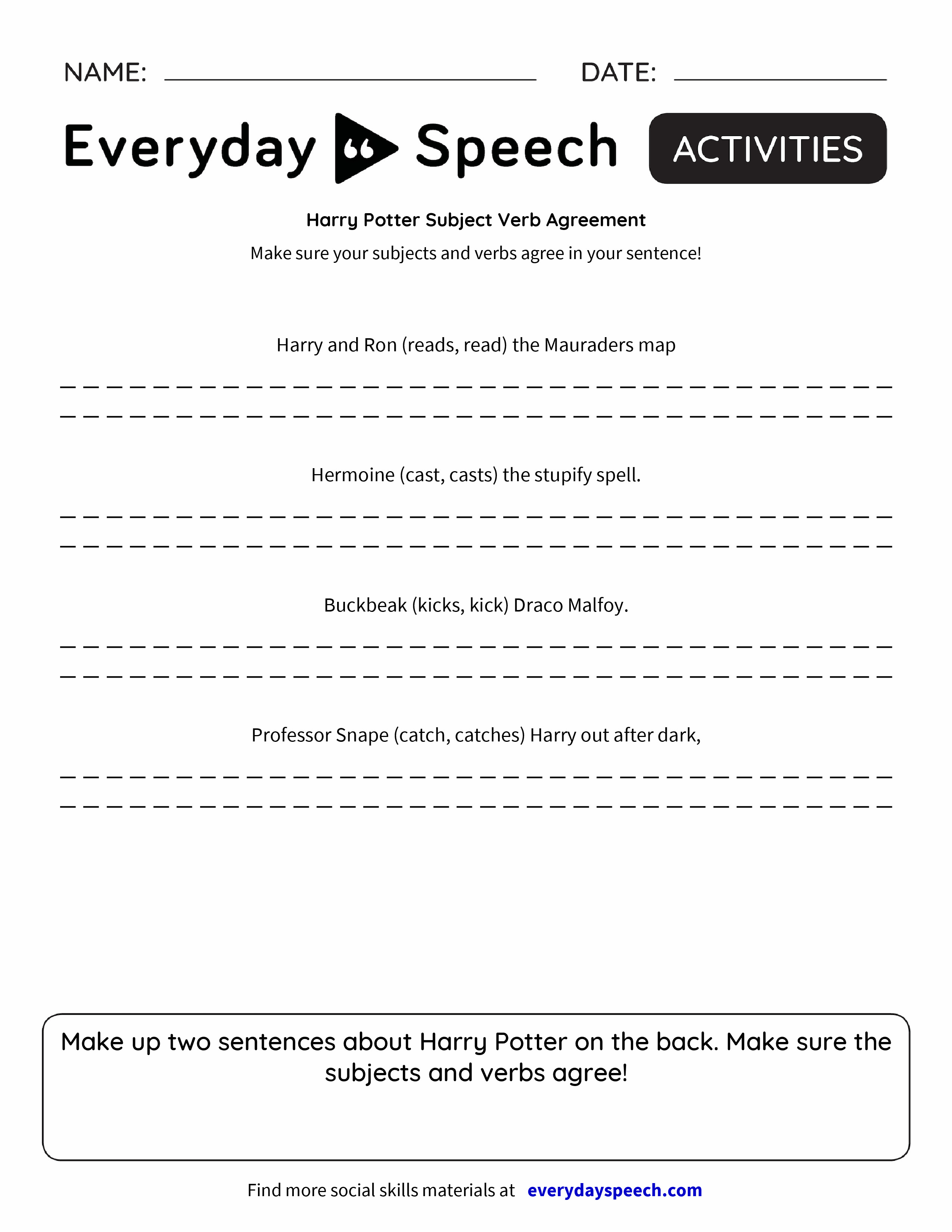 Harry Potter Subject Verb Agreement Everyday Speech Everyday Speech