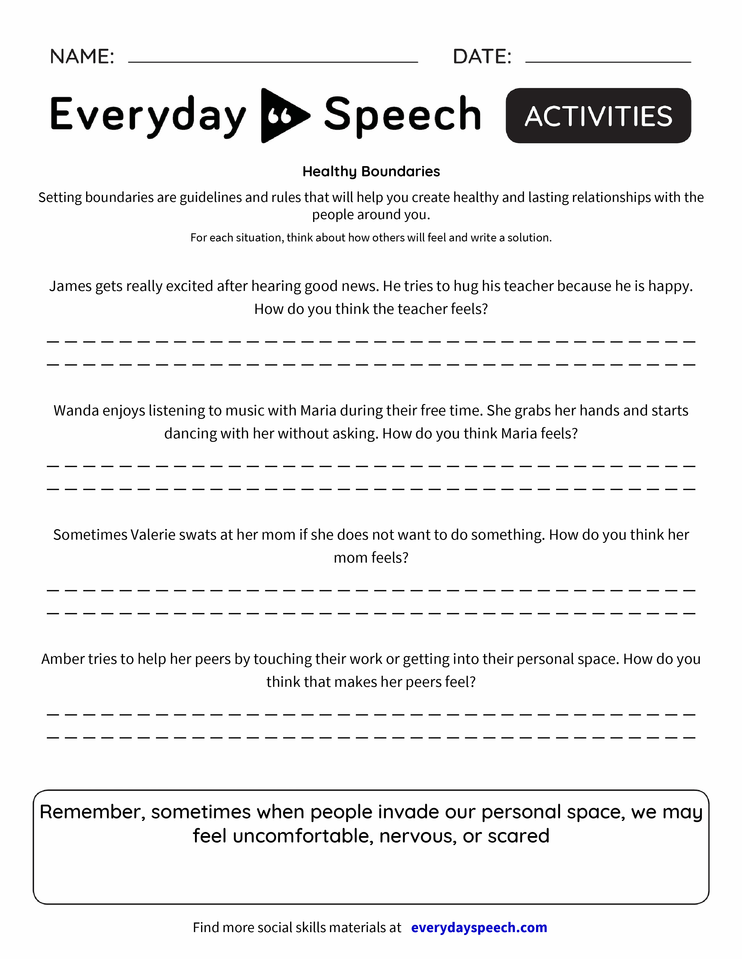 Healthy Boundaries Worksheets For Women Beansmith
