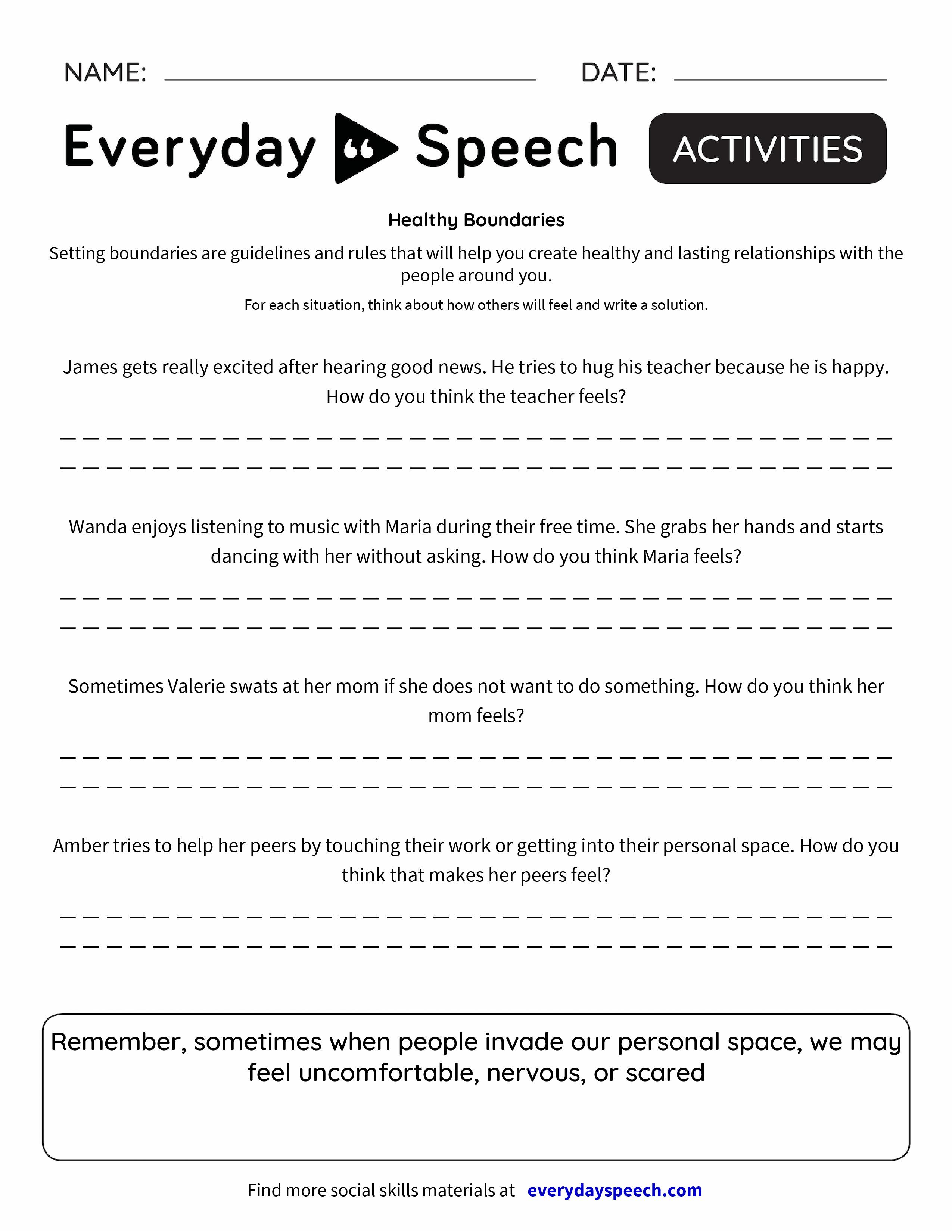 Worksheets Setting Personal Boundaries Worksheet boundaries in relationships worksheets pdf healthy everyday speech speech