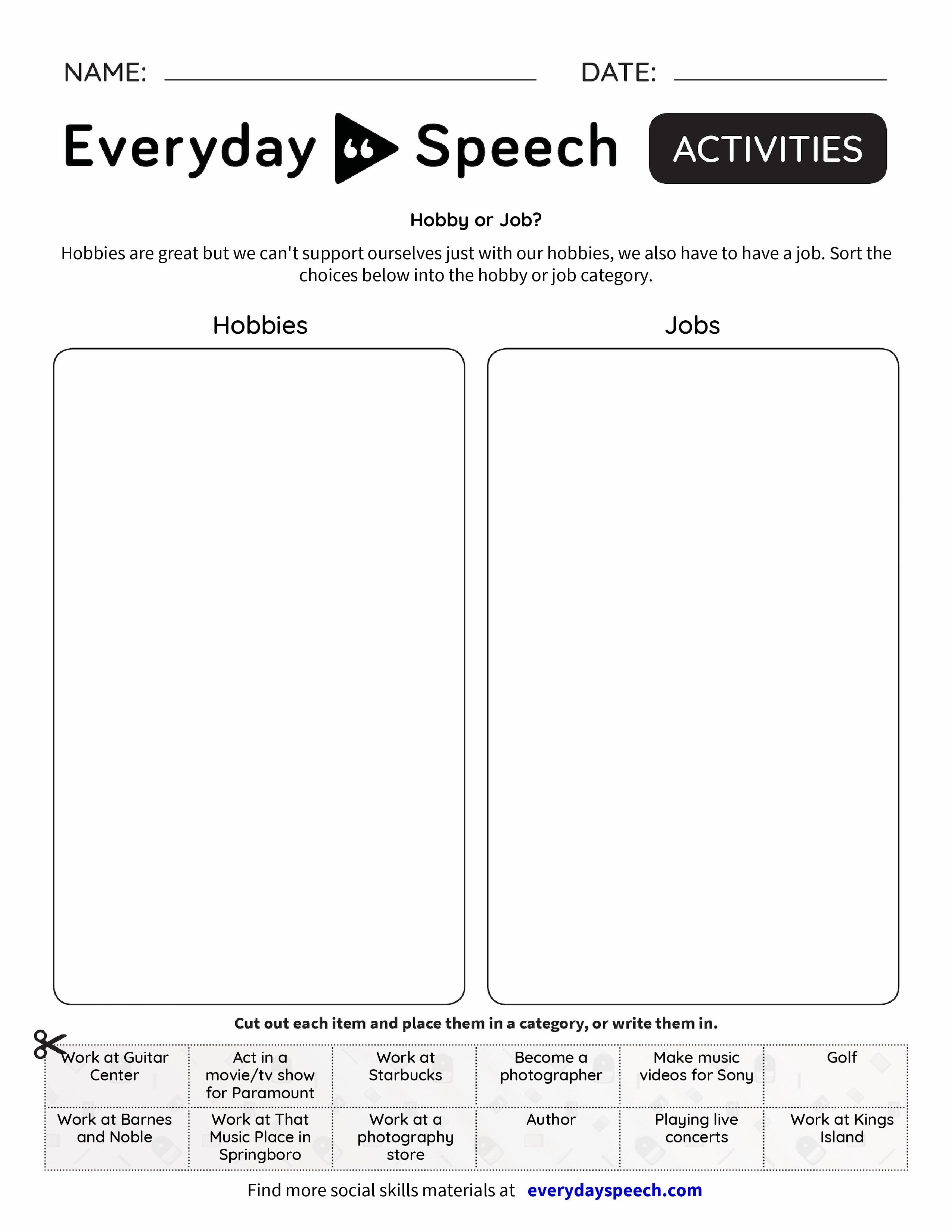 Good Job Worksheet : Hobby or job everyday speech