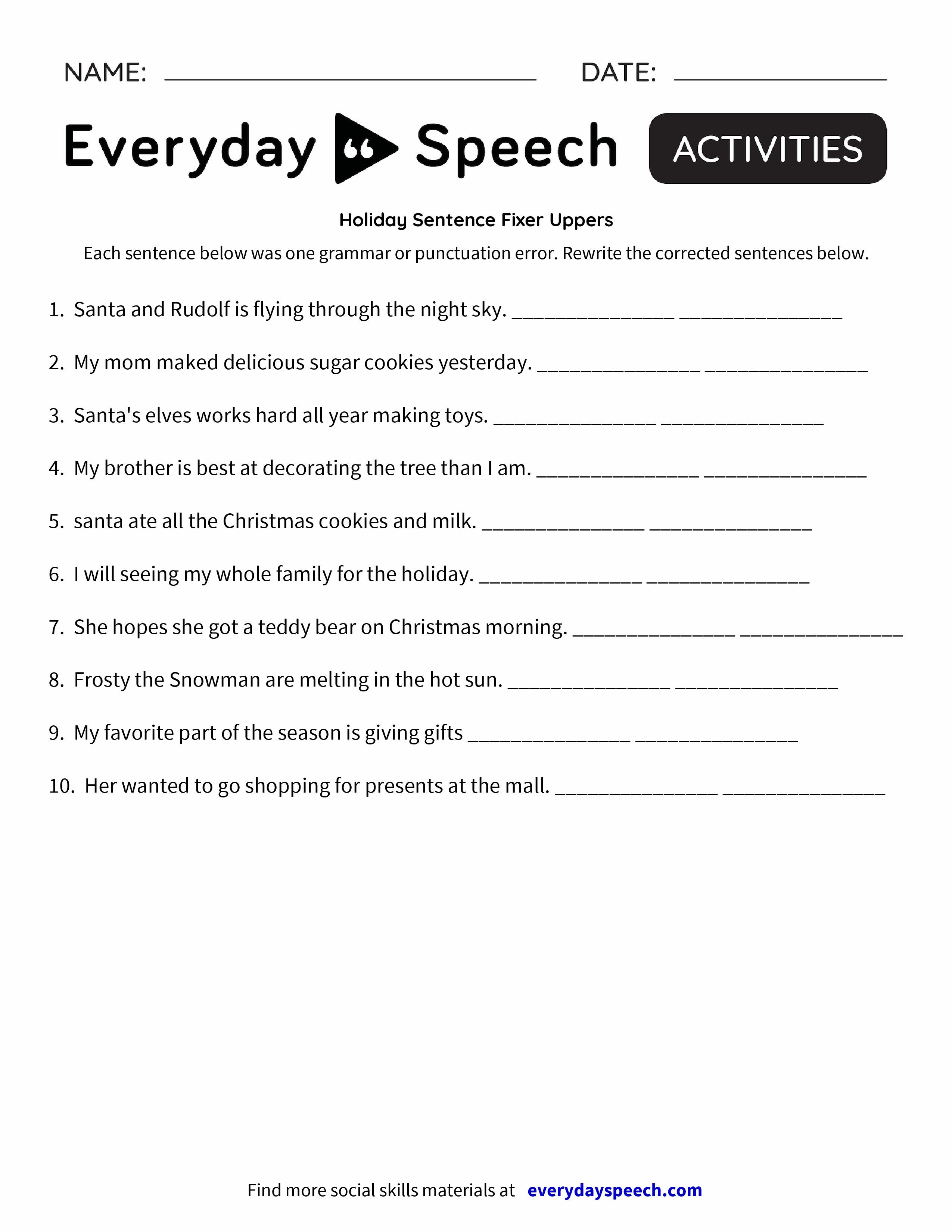 worksheet Part Of Speech Worksheet holiday sentence fixer uppers everyday speech preview