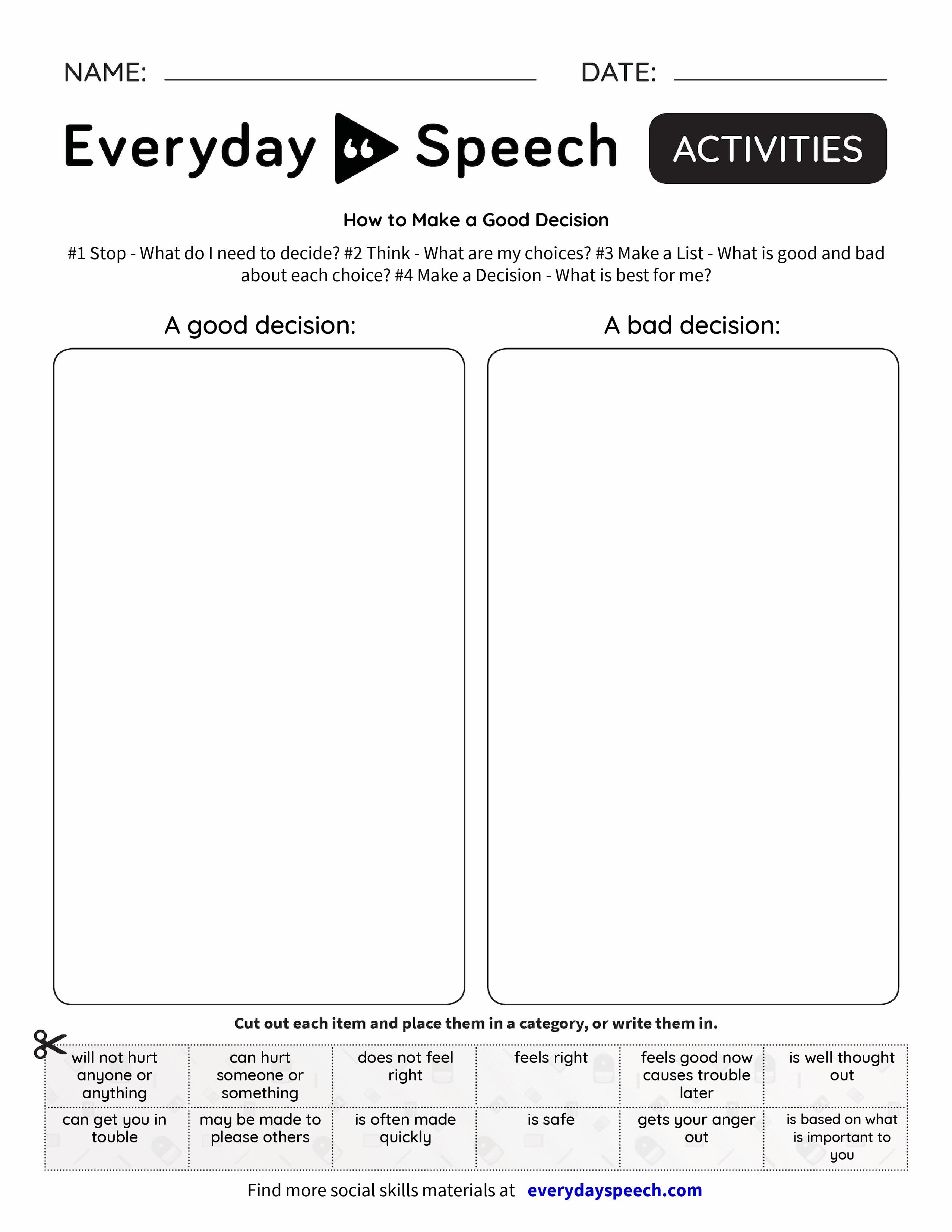How To Make A Good Decision Everyday Speech Everyday
