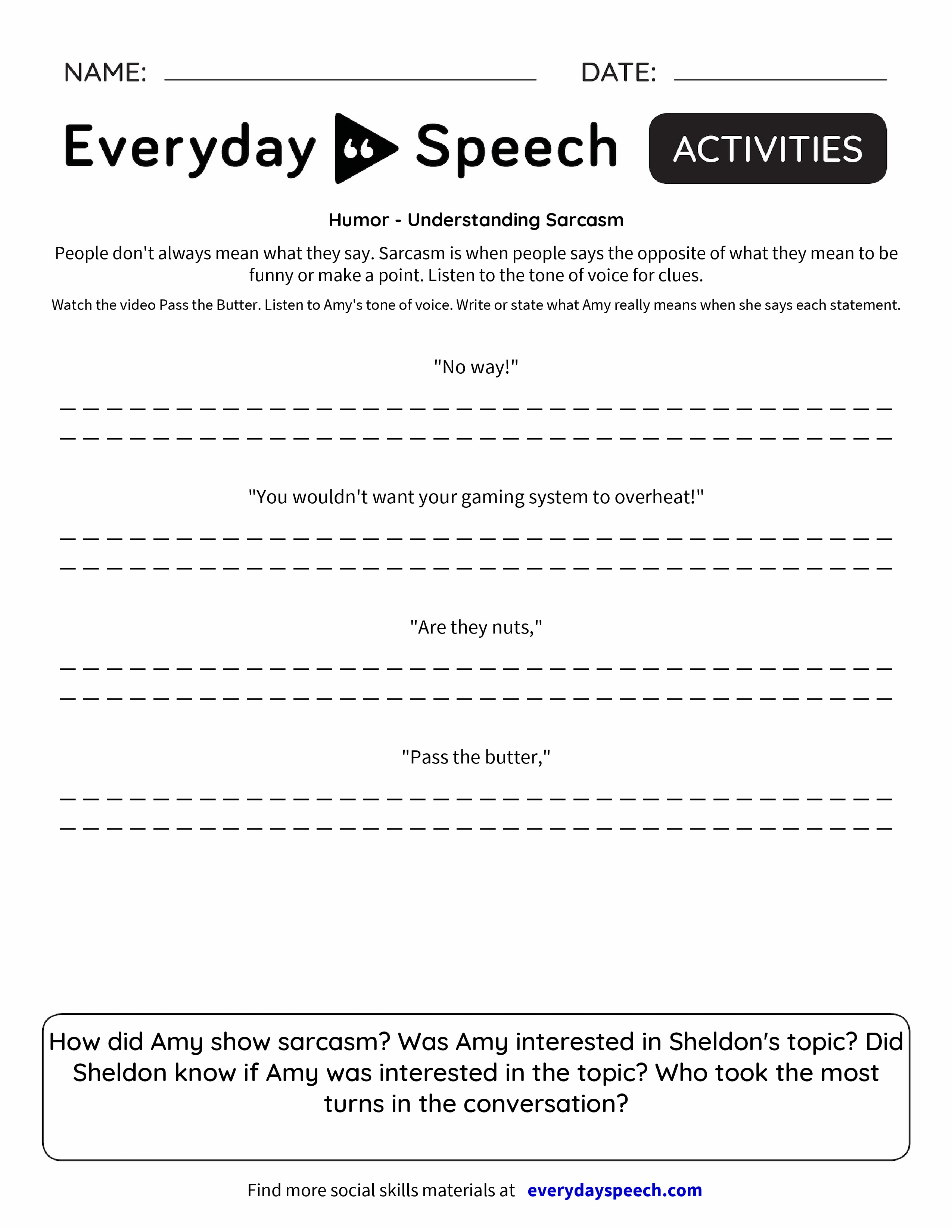 Humor Understanding Sarcasm Everyday Speech Everyday Speech – Tone Worksheets