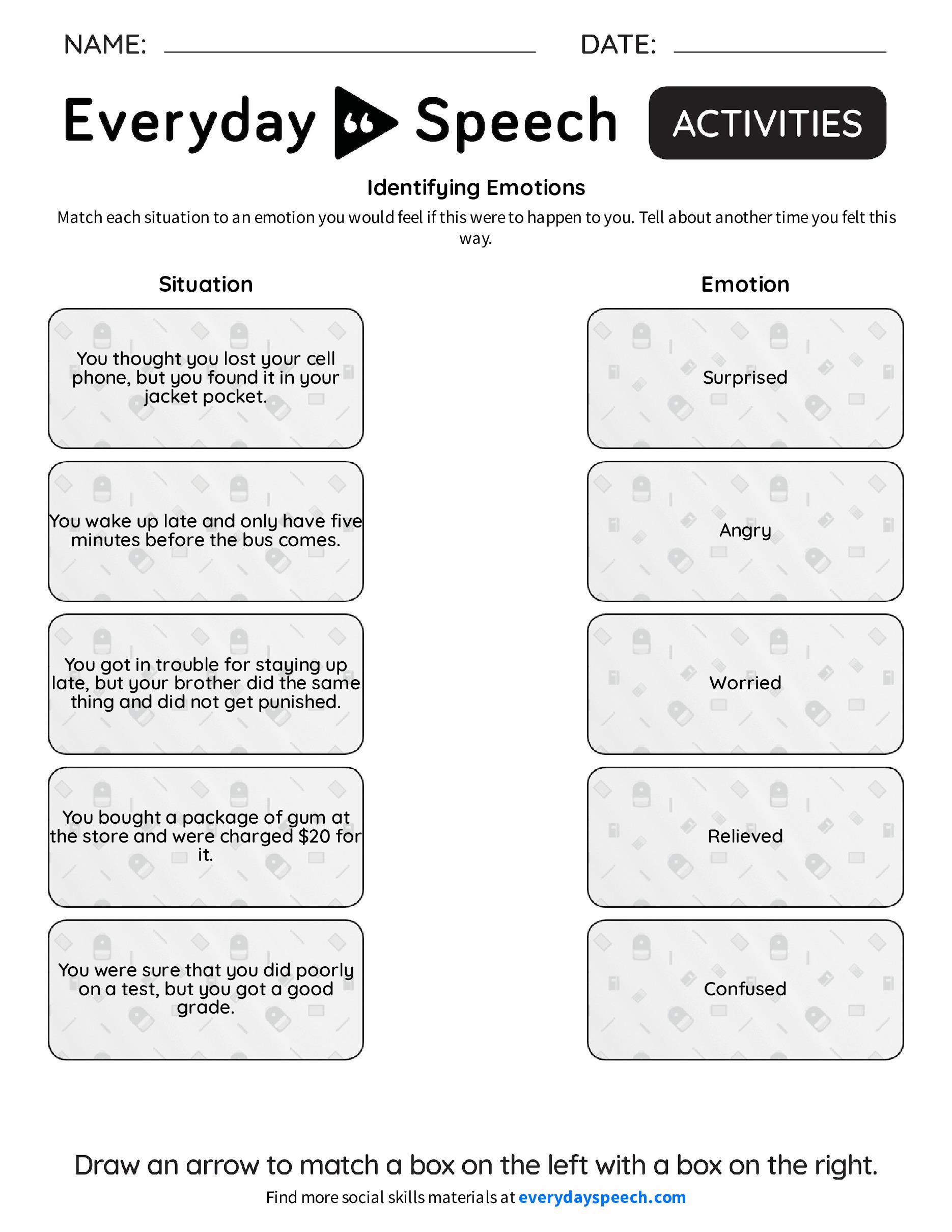 Recognizing Emotions Worksheets - Checks Worksheet
