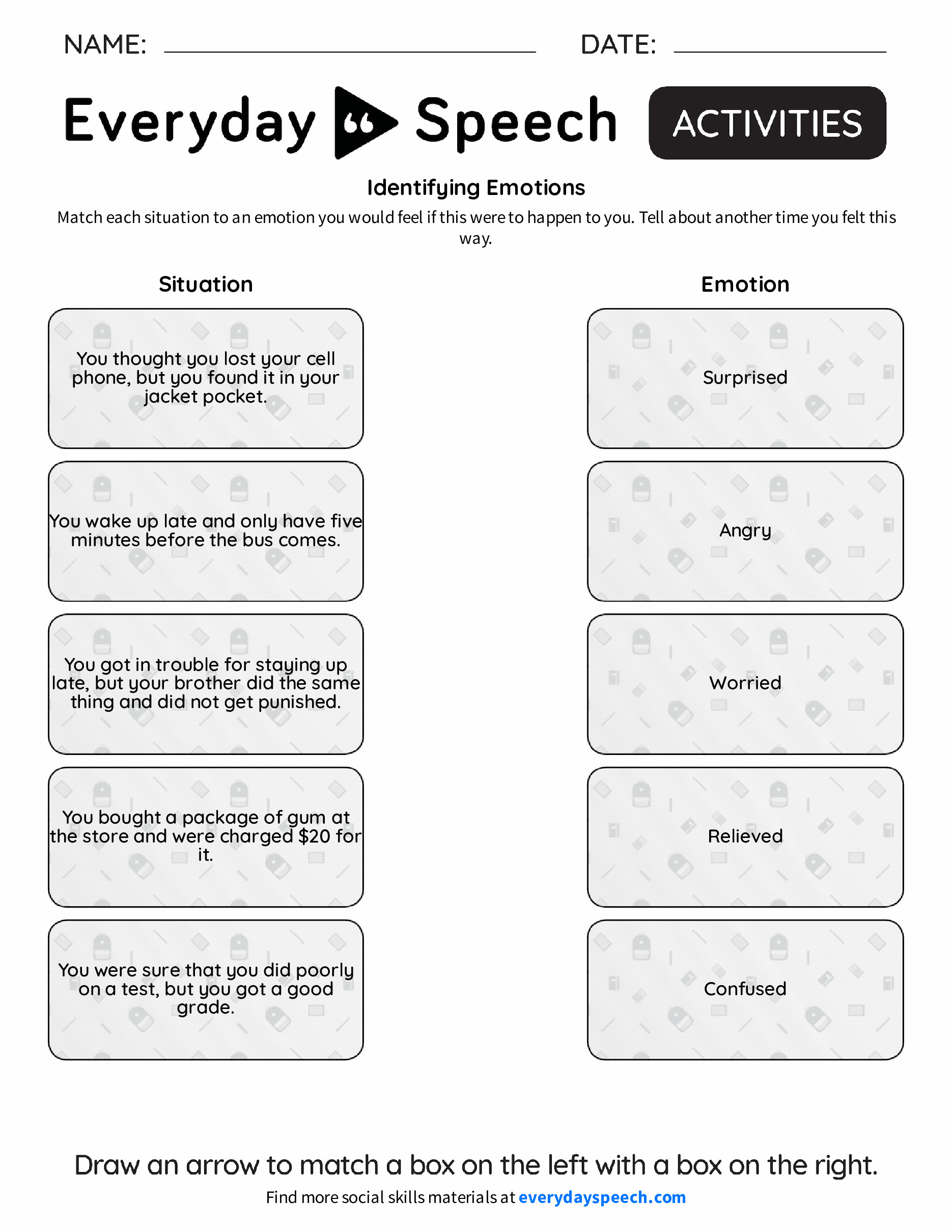 Worksheets Identifying Emotions Worksheet identifying emotions everyday speech emotions