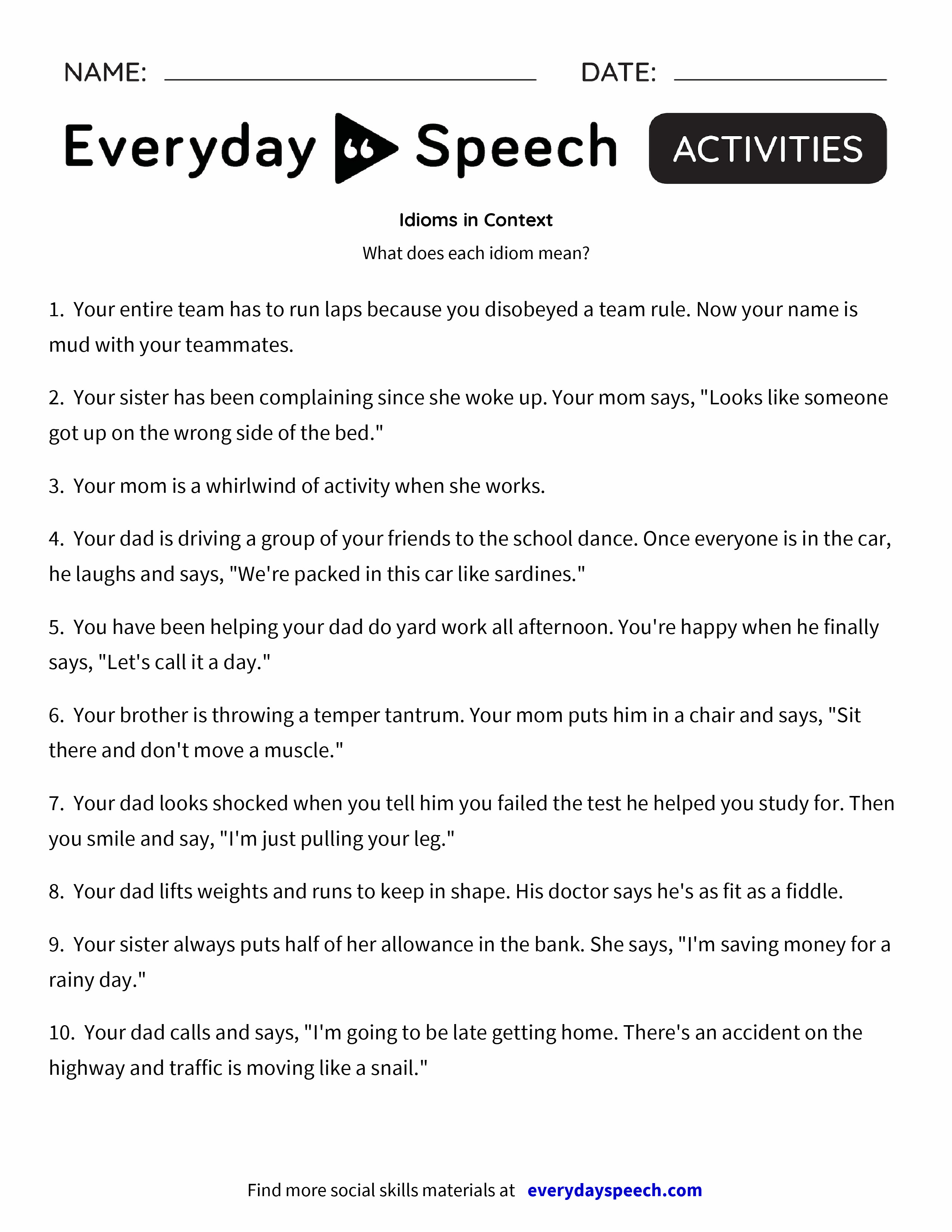 Worksheets Idiom Worksheets idioms in context everyday speech preview