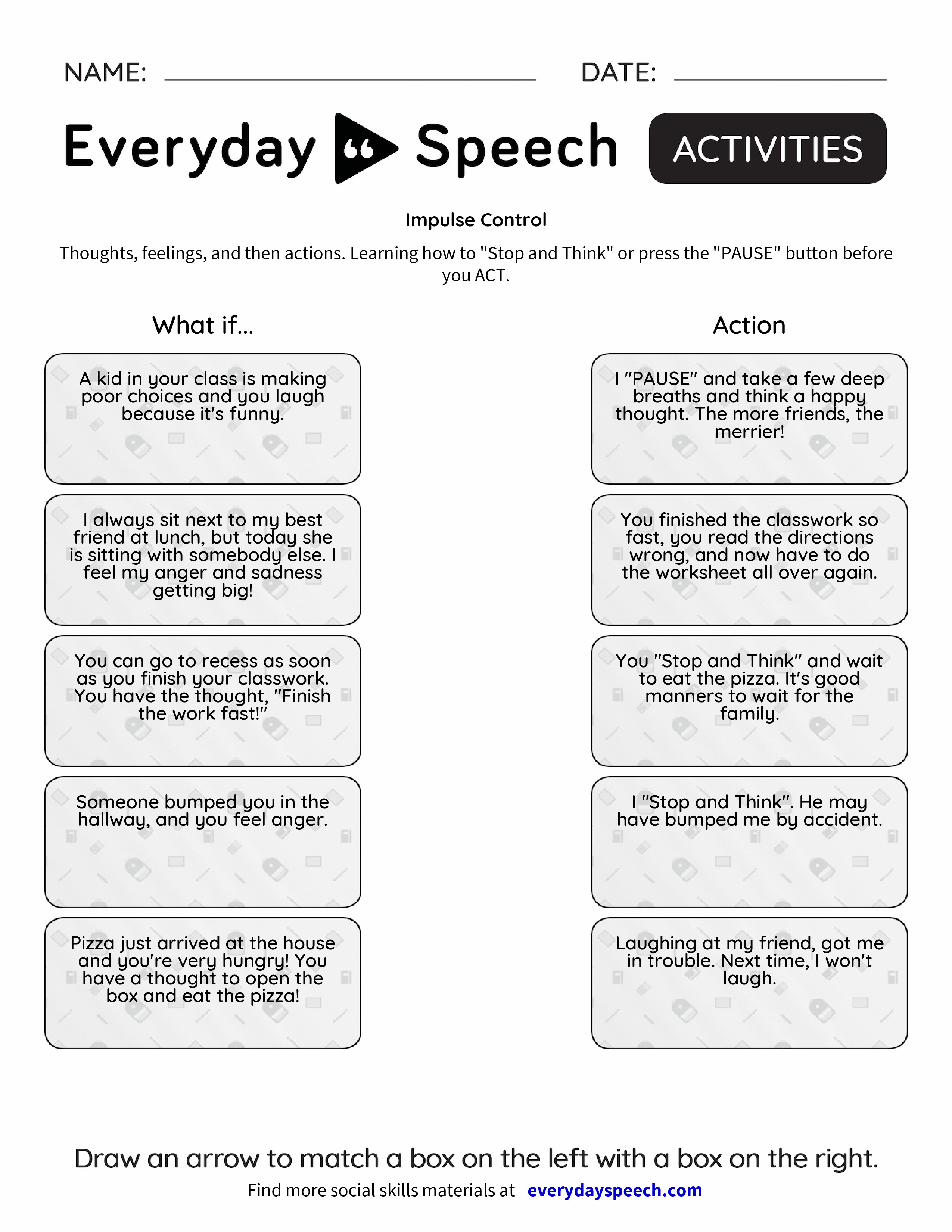 Worksheets Impulse Control Worksheets impulse control everyday speech preview preview