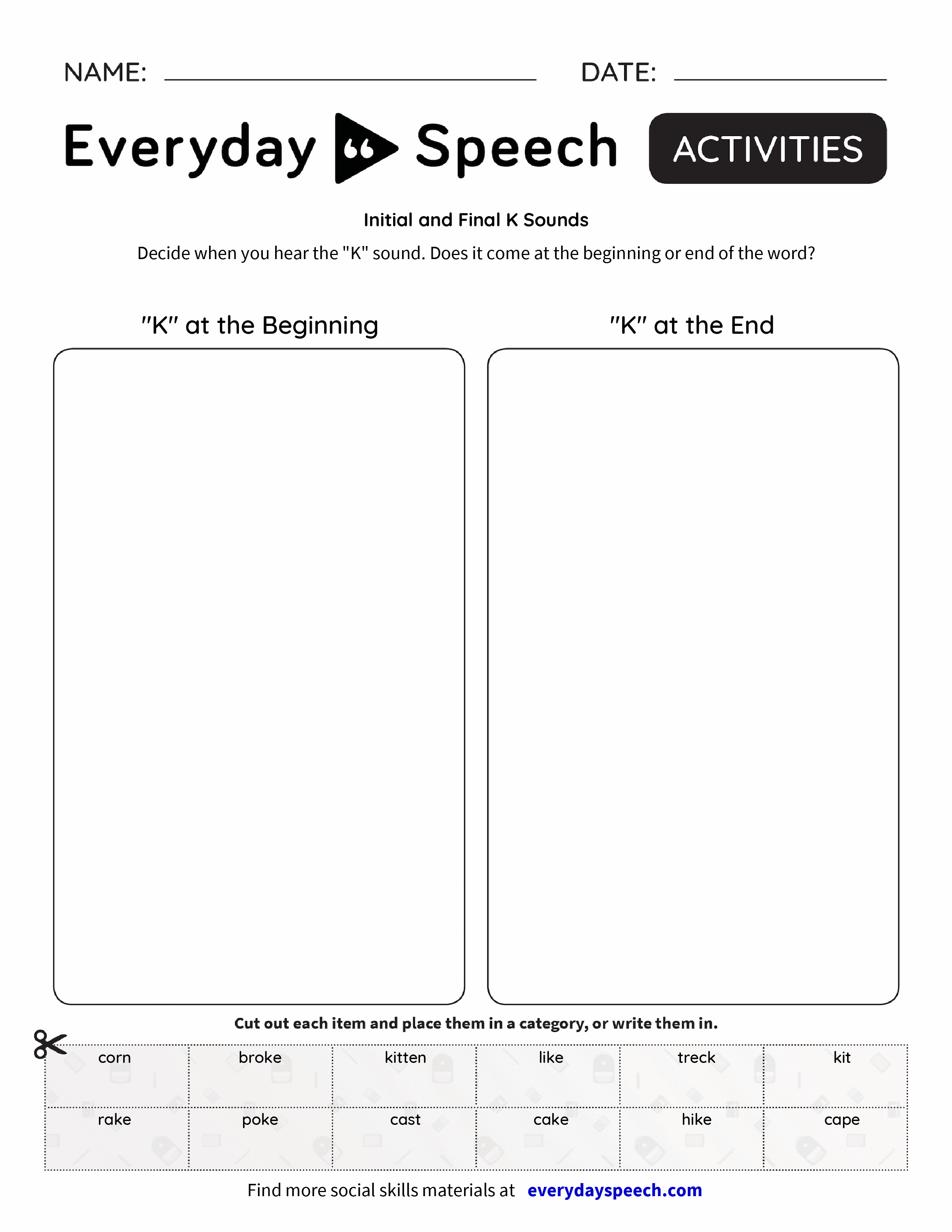 Initial and Final K Sounds Everyday Speech Everyday Speech – Sound Worksheet
