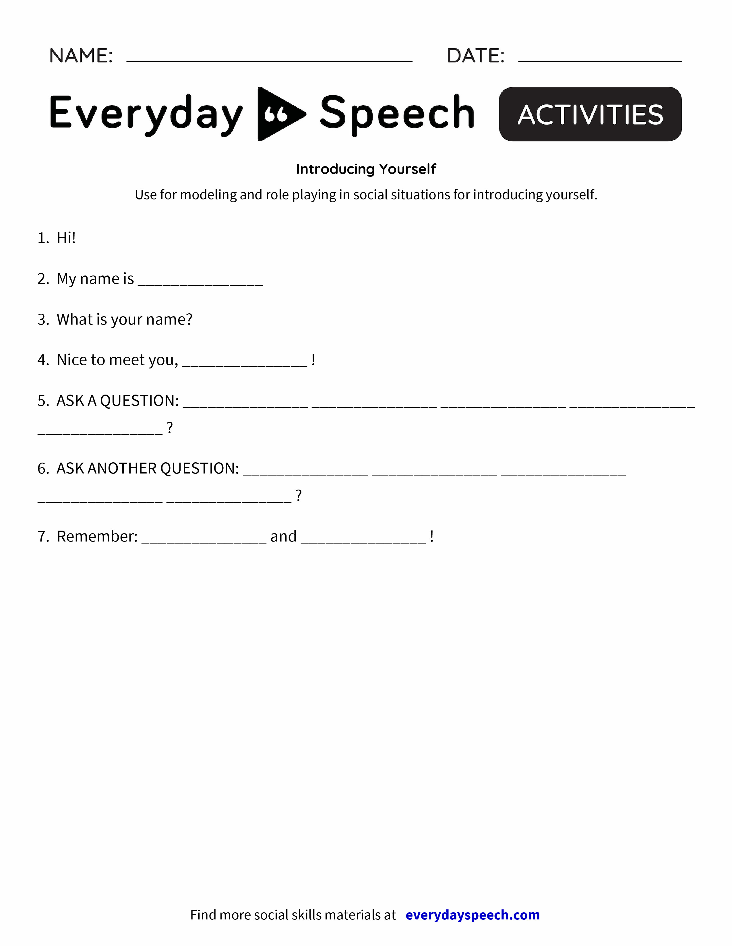 worksheet Negative Self Talk Worksheet most downloaded worksheets everyday speech introducing yourself