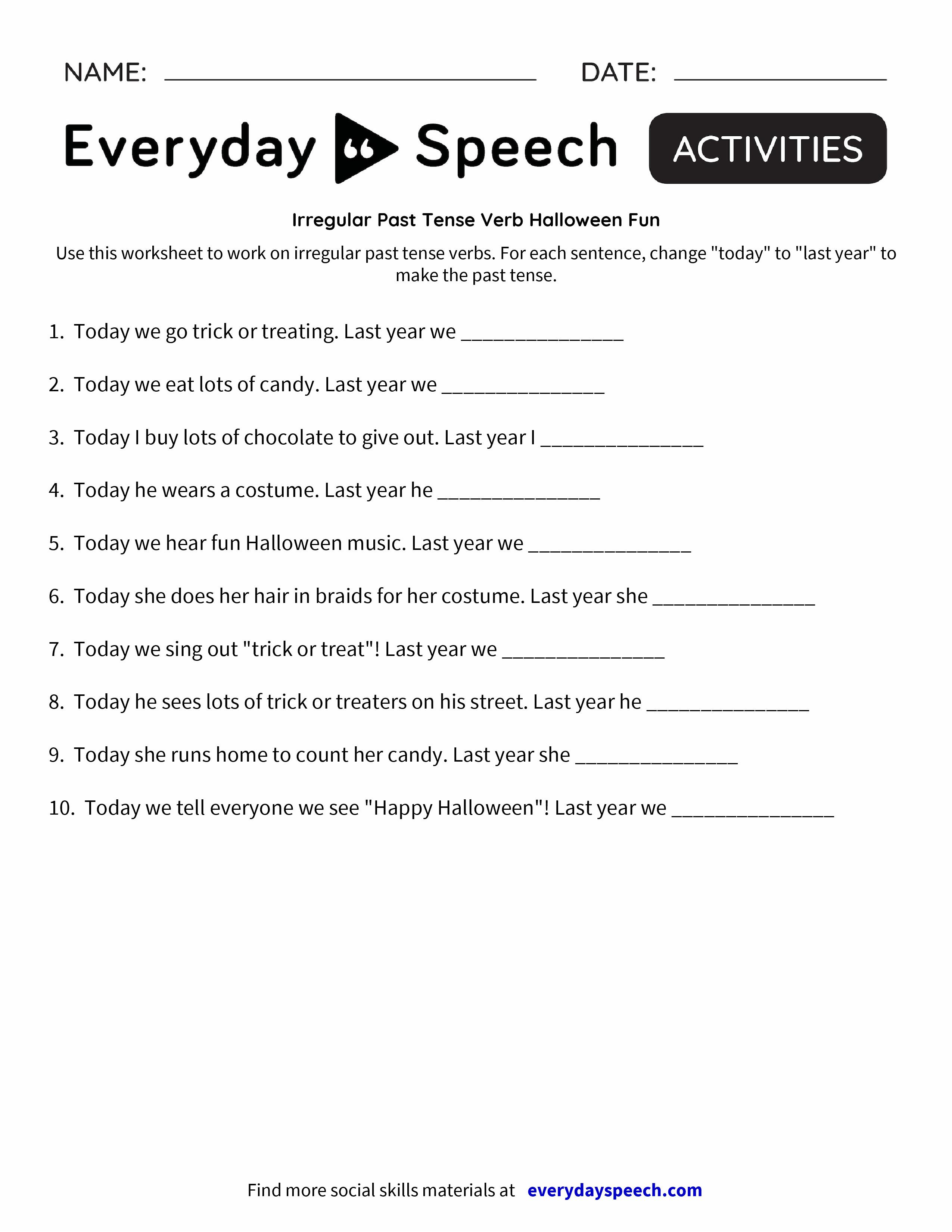 Worksheets Irregular Past Tense Verbs Worksheet irregular past tense verb halloween fun everyday speech preview preview