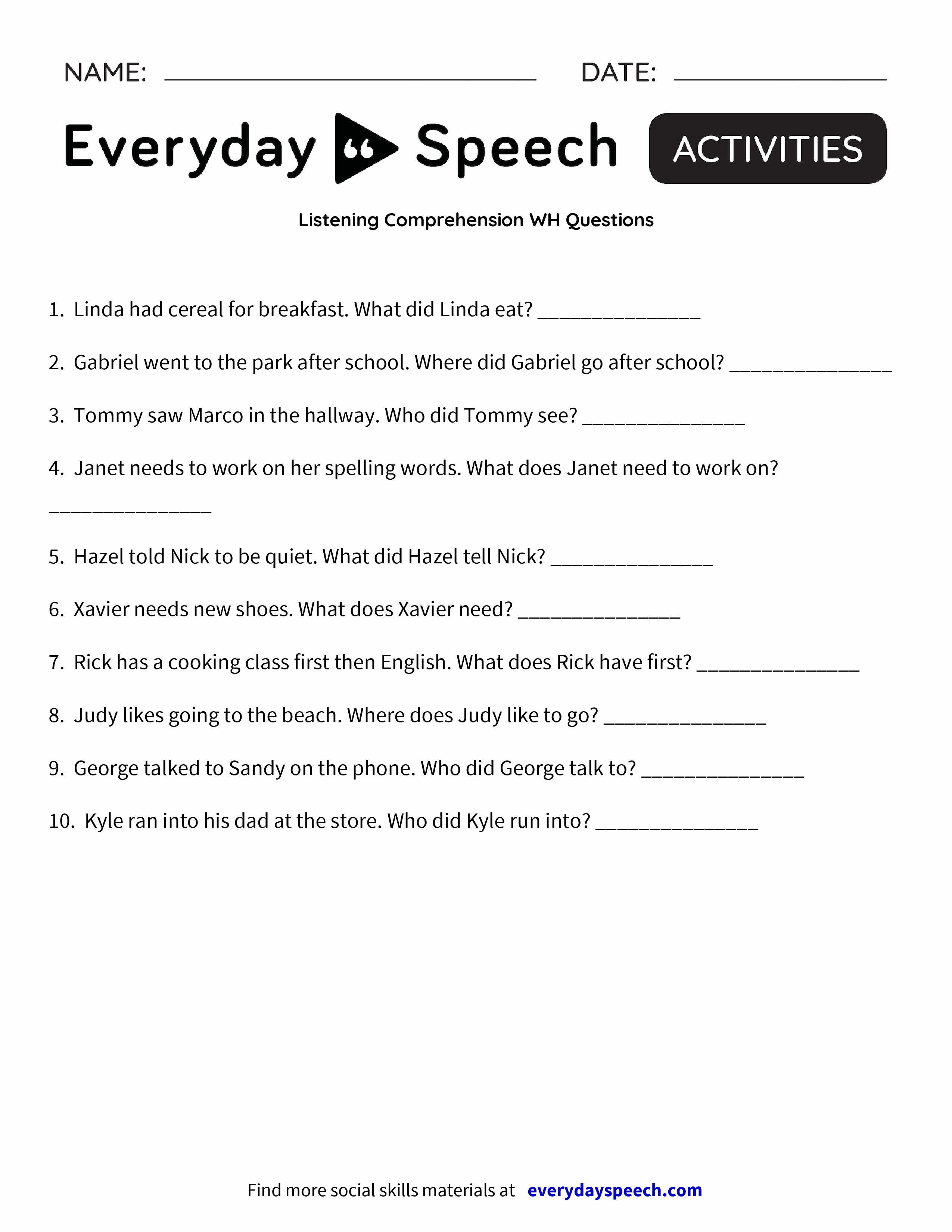 Listening Comprehension Worksheets For Grade 2 gallery - iuniana ...