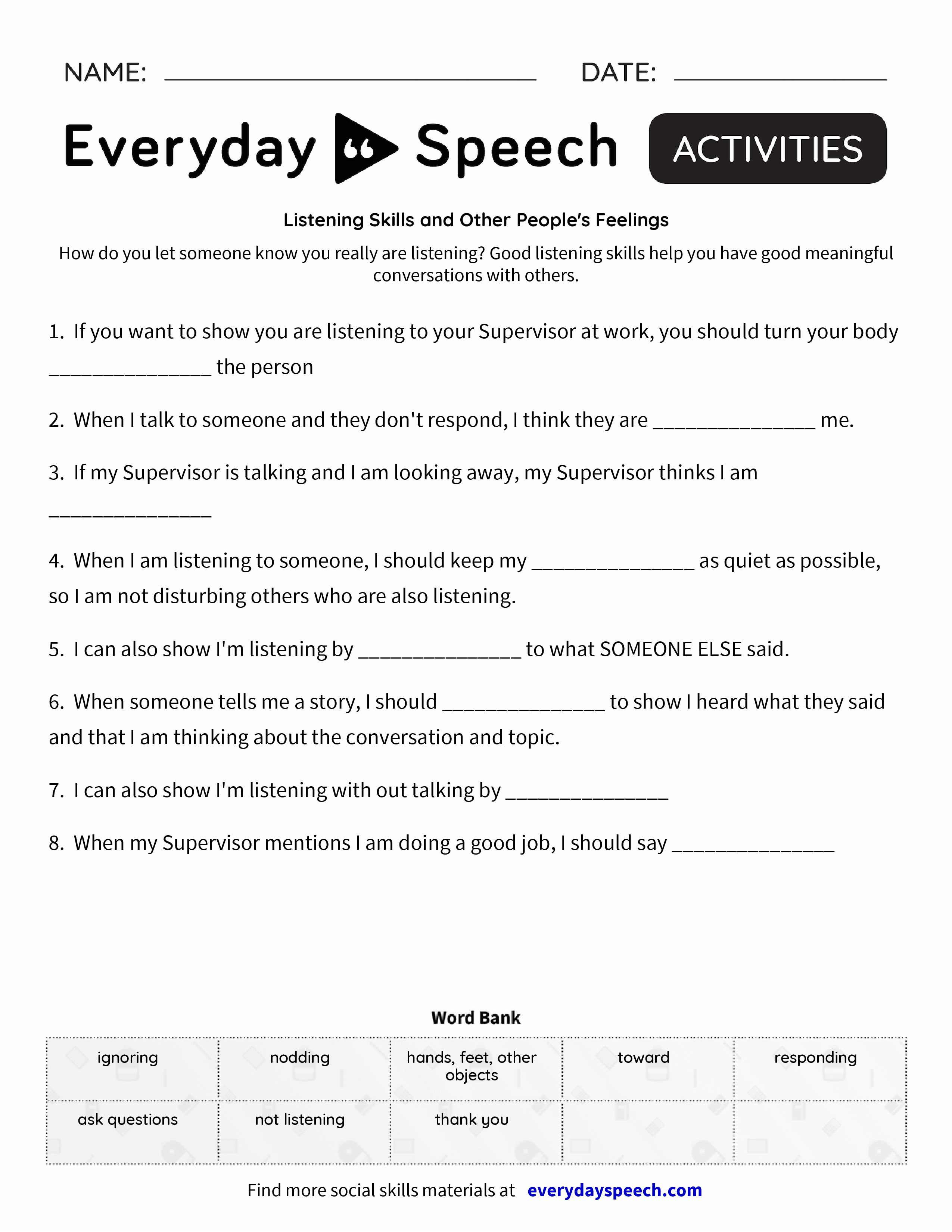 Worksheets Listening Skills Worksheets listening skills and other peoples feelings everyday speech preview