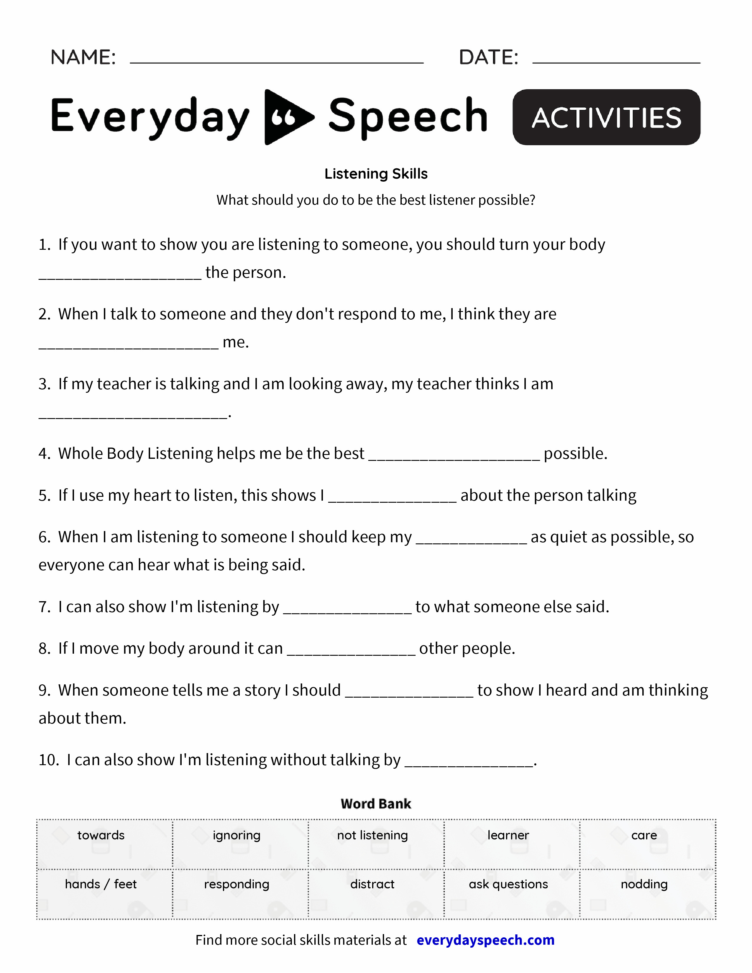 Listening Skills - Everyday Speech - Everyday Speech