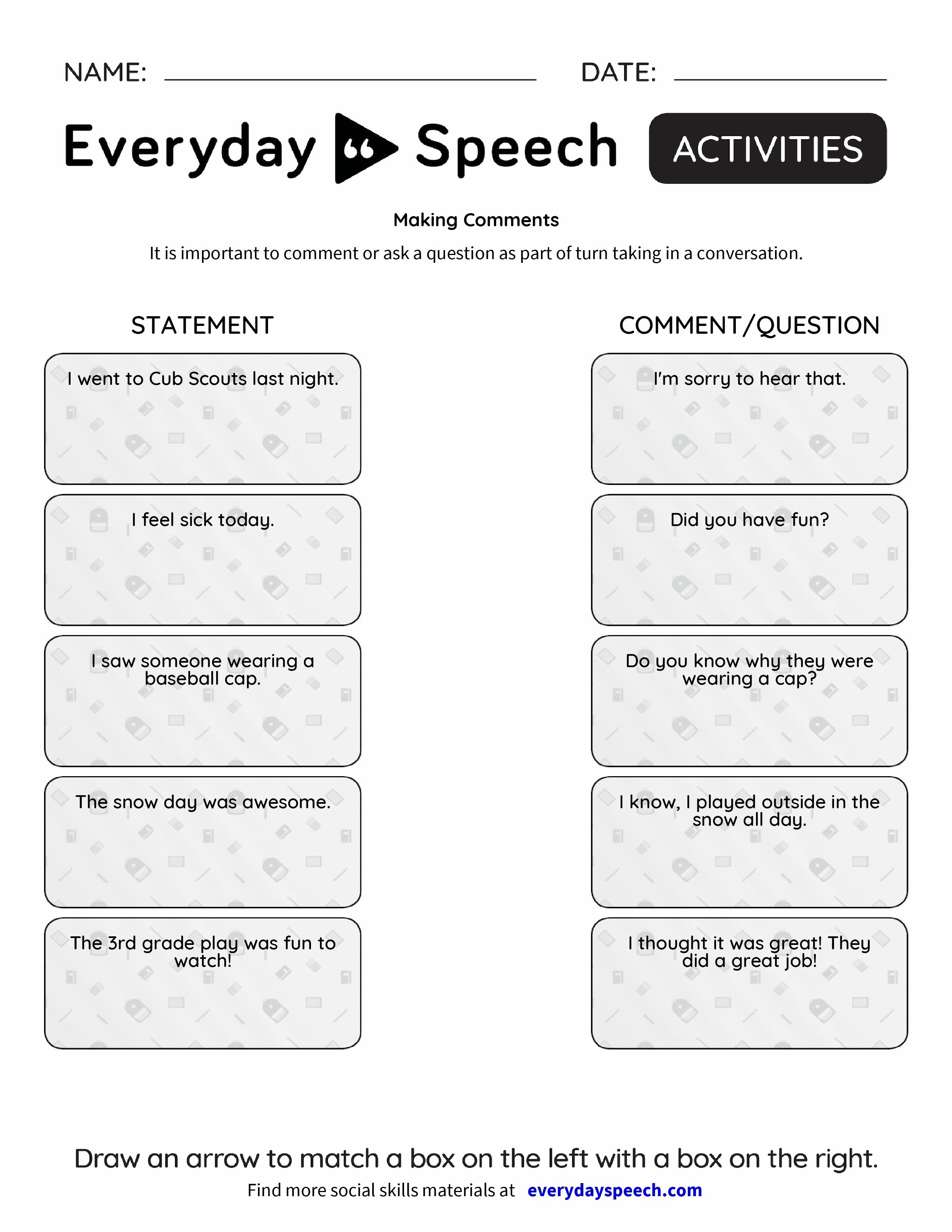Making Comments Everyday Speech Everyday Speech