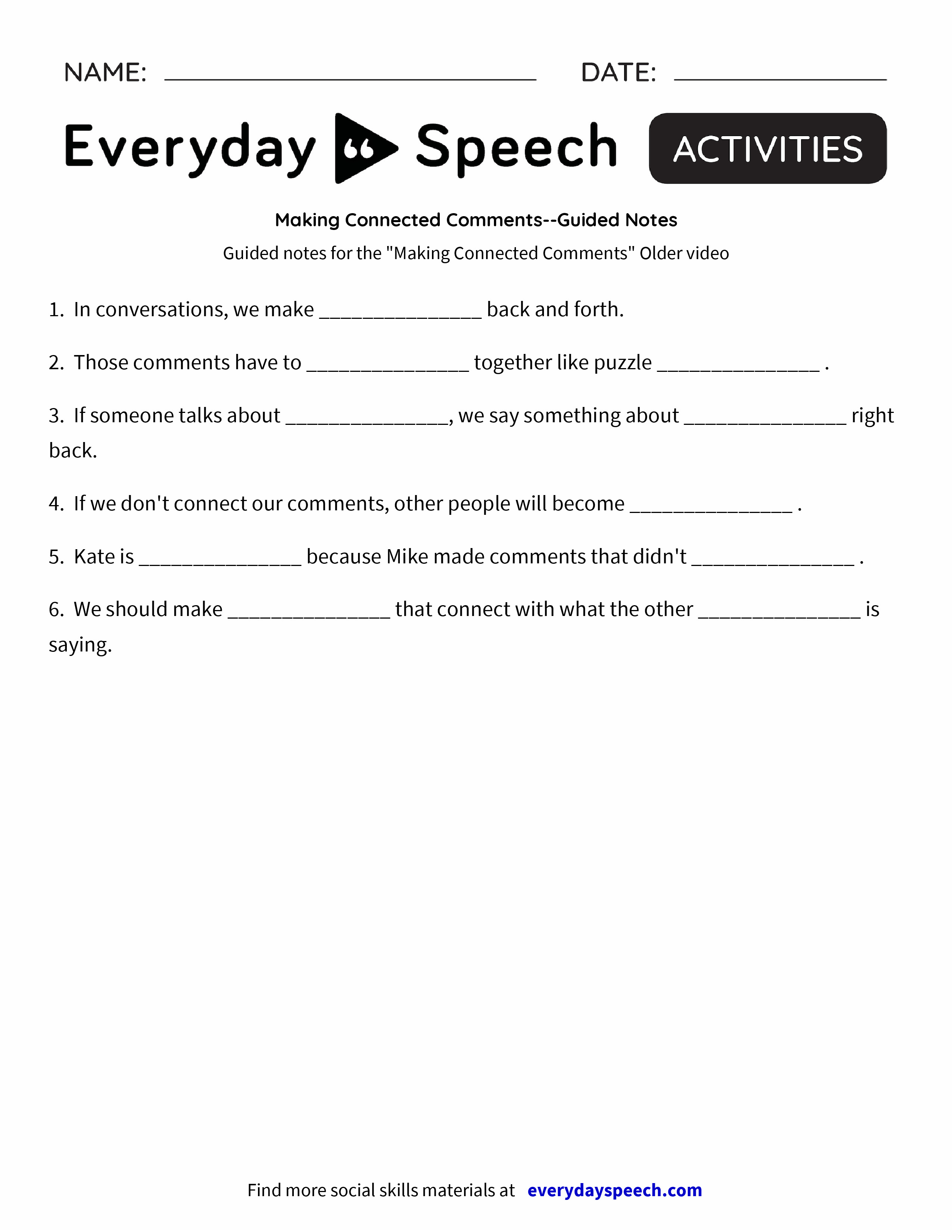 Making Connected Comments-Guided Notes - Everyday Speech - Everyday ...
