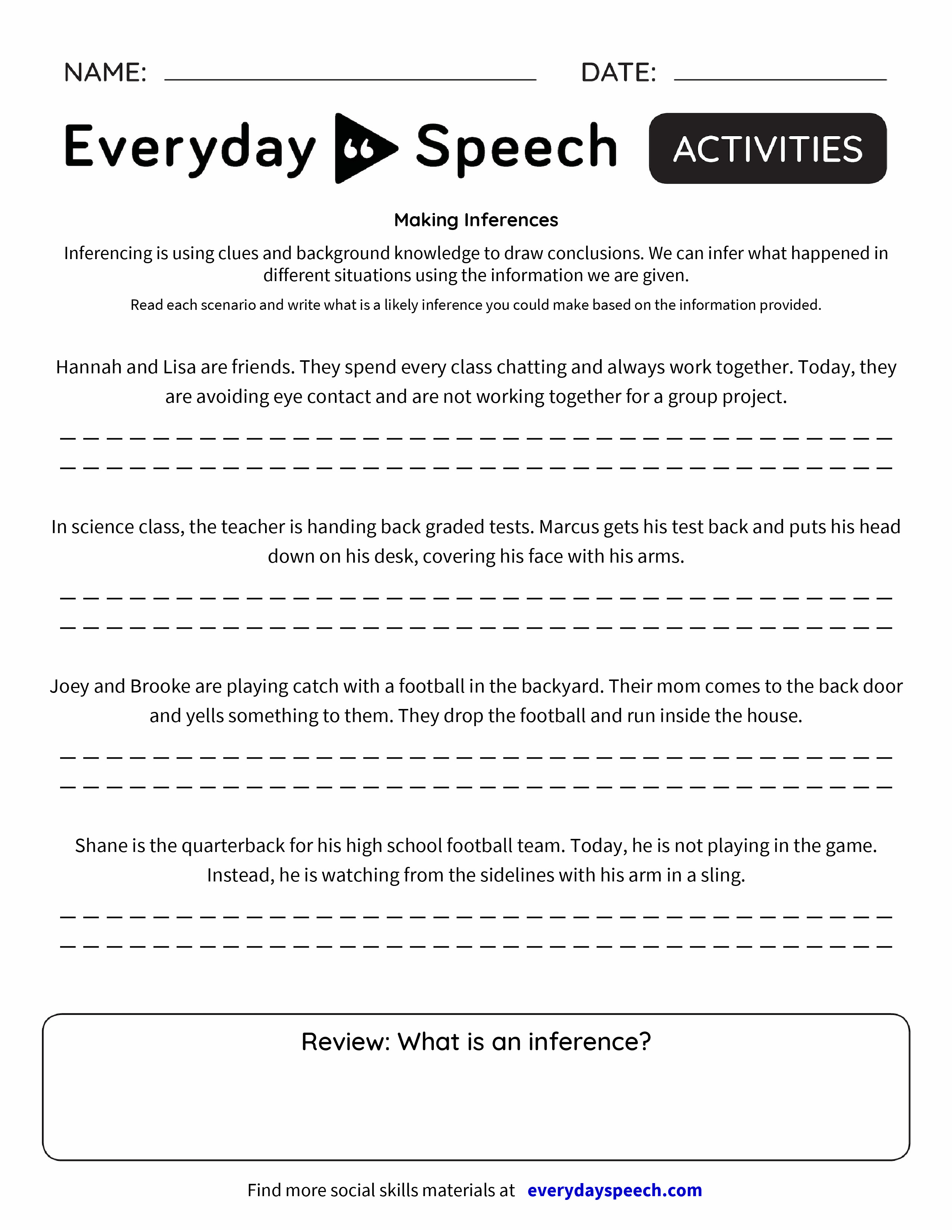 Worksheets Inferences Worksheet 2 making inferences everyday speech preview