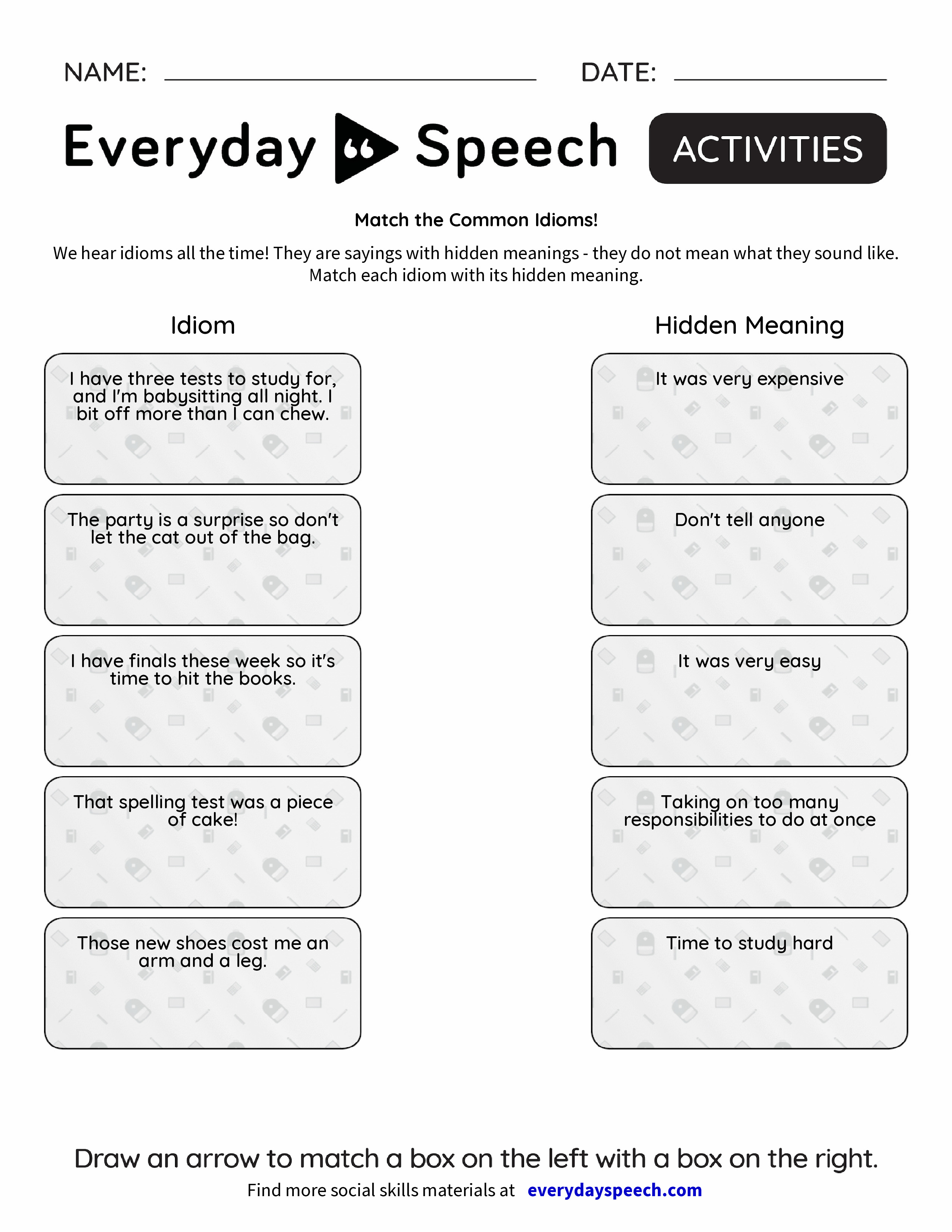 Uncategorized Idiom Worksheets match the common idioms everyday speech idioms