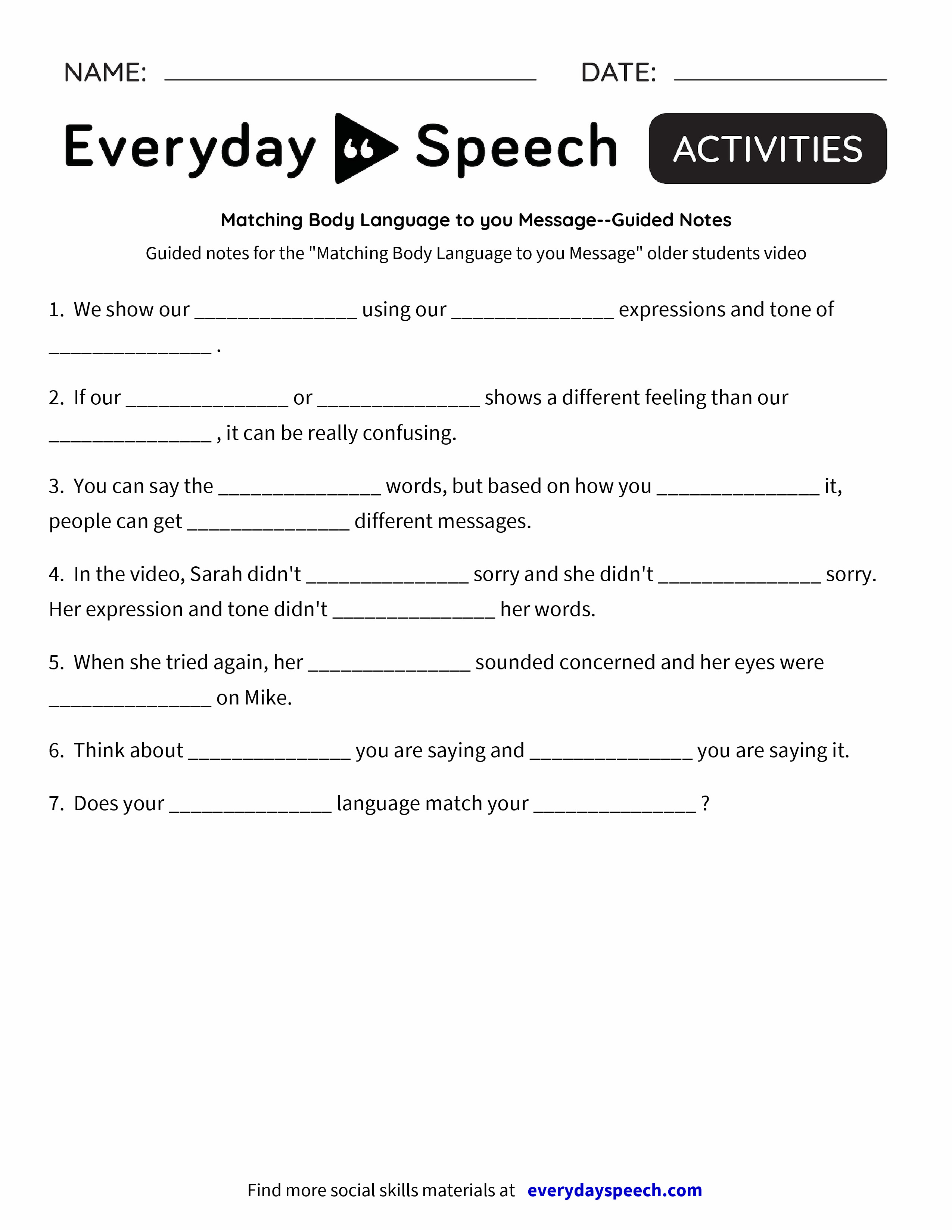 Matching Body Language to you MessageGuided Notes Everyday – I Messages Worksheet