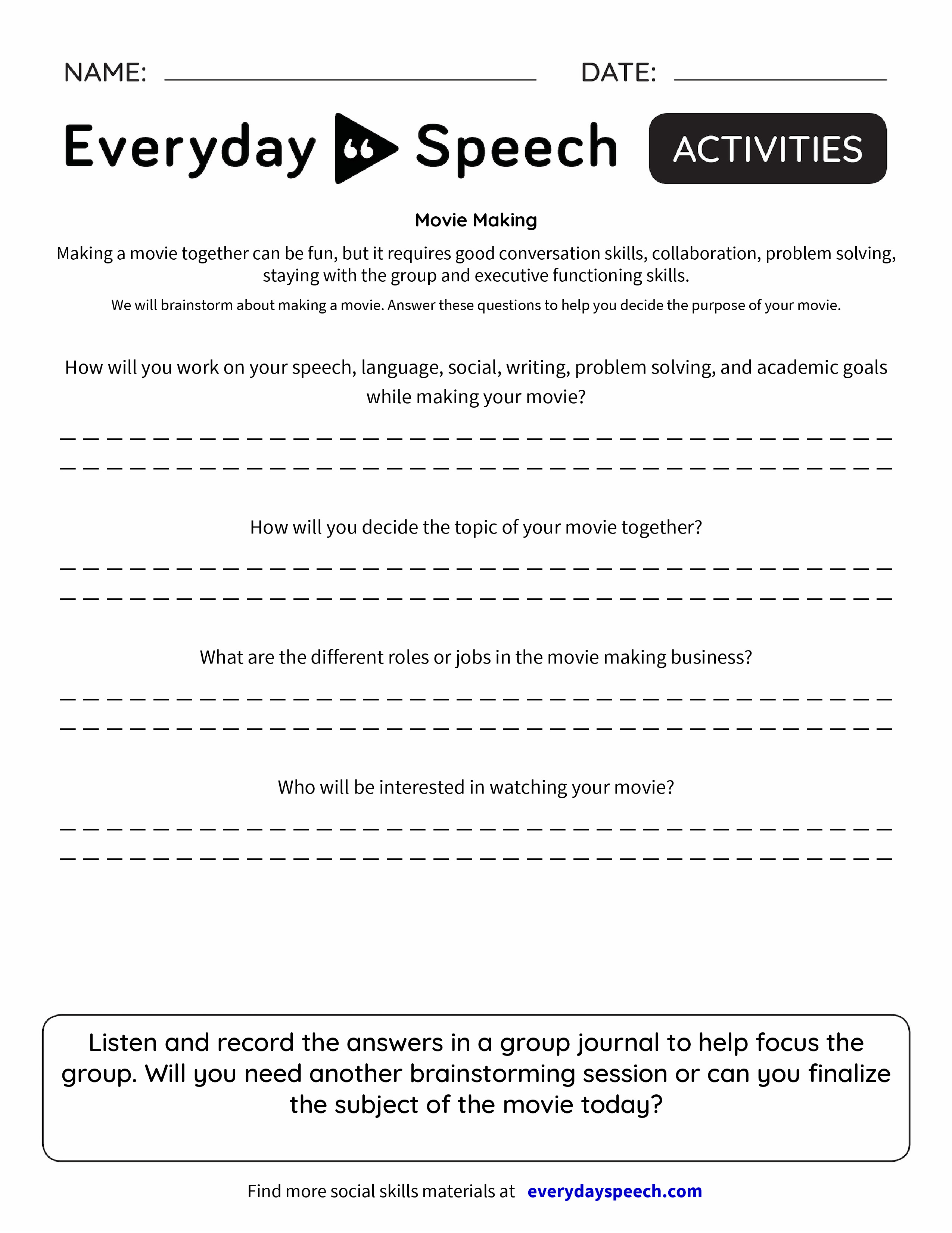 worksheet Collaborative Problem Solving Worksheet movie making everyday speech preview