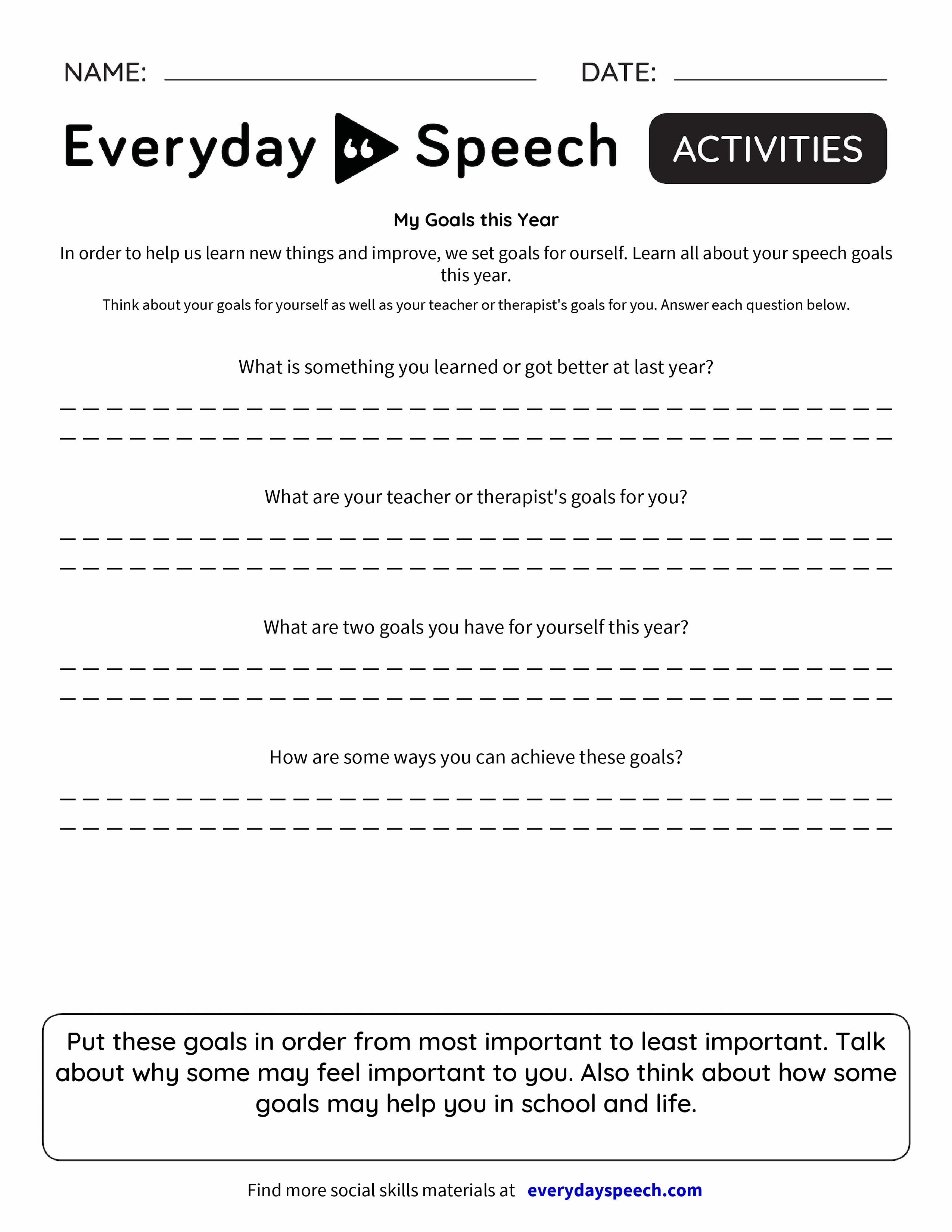 speech about goals