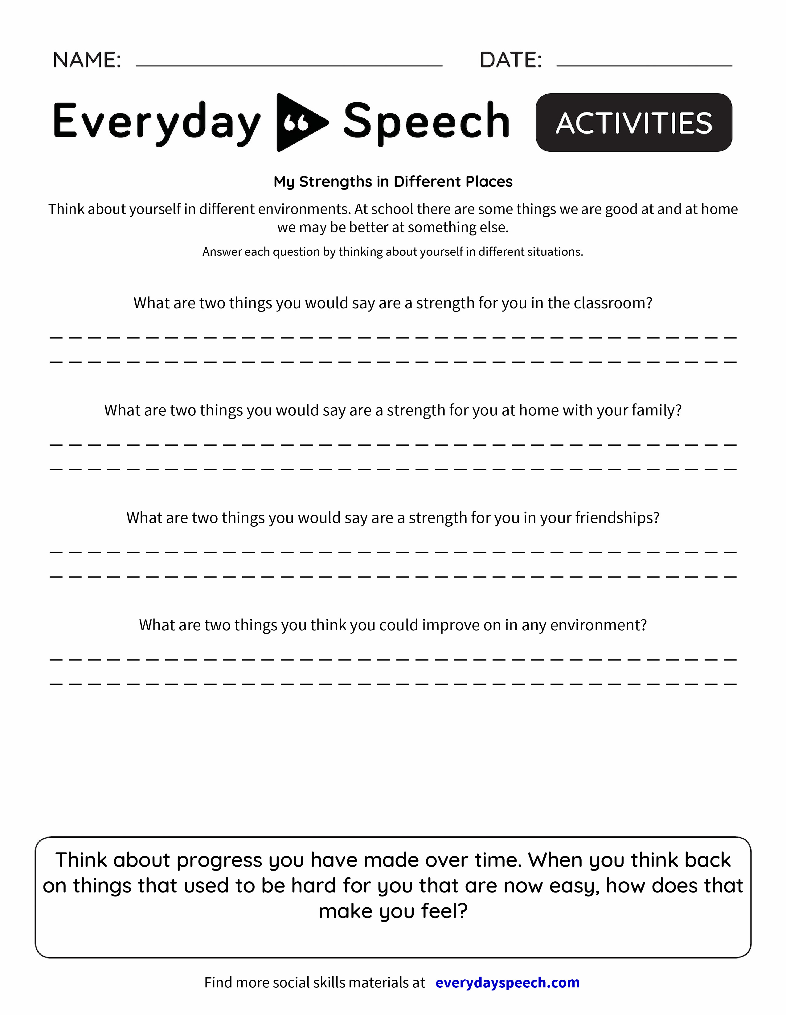 My Strengths in Different Places - Everyday Speech - Everyday Speech
