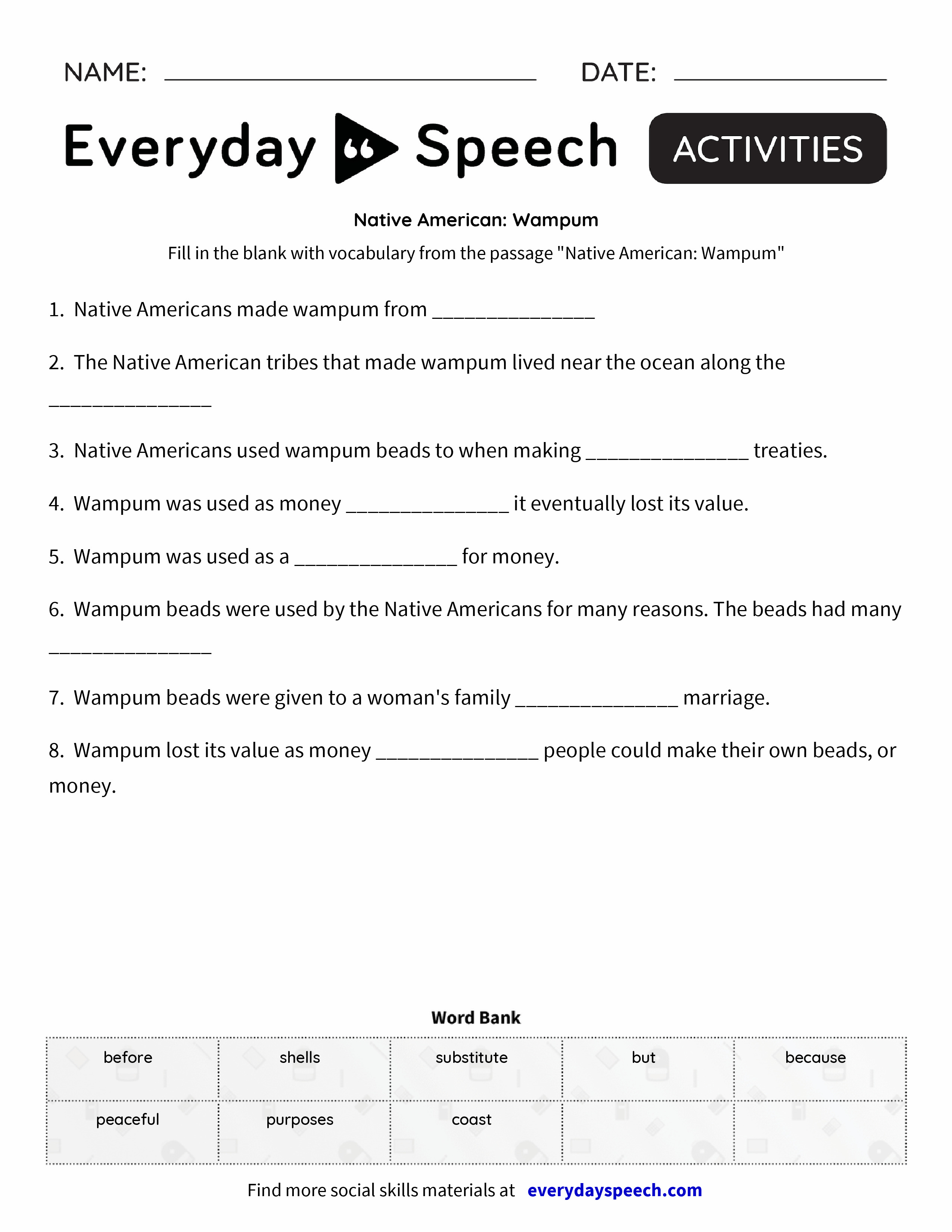worksheet Native American Worksheets native american wampum everyday speech preview preview