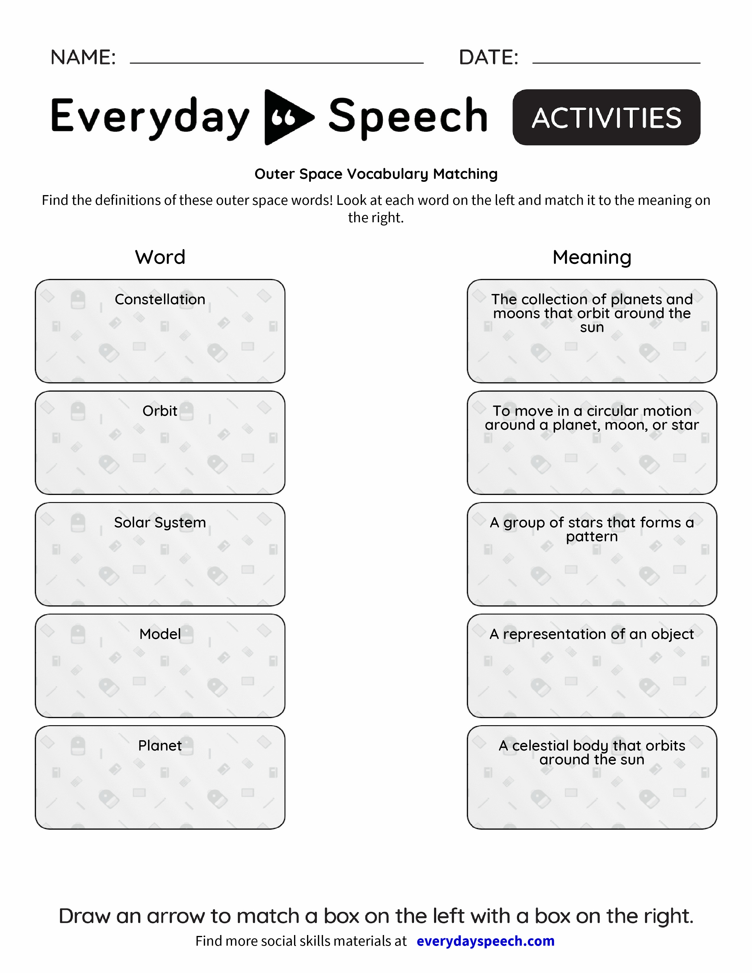 Worksheets Vocabulary Matching Worksheet outer space vocabulary matching everyday speech matching