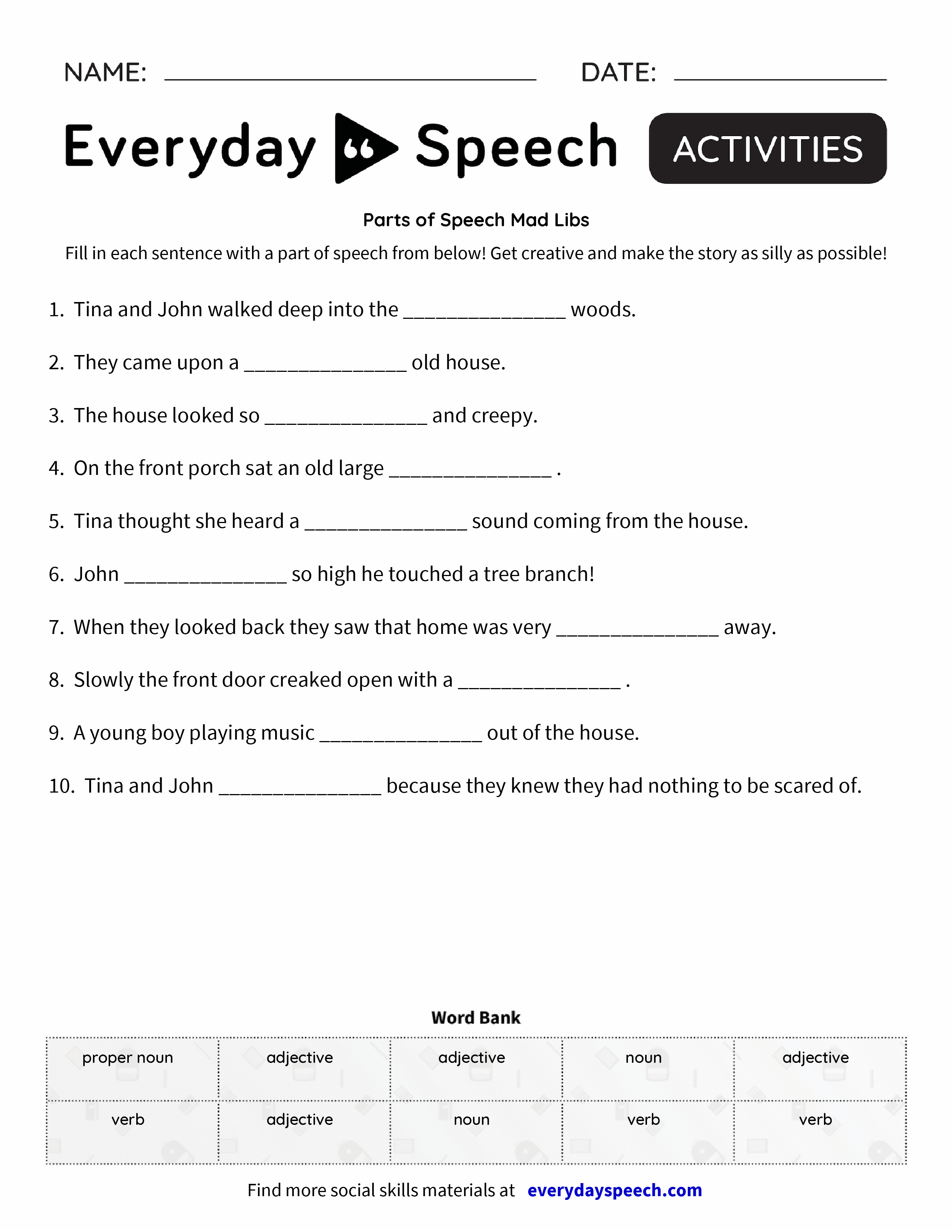 parts of speech mad libs everyday speech everyday speech. Black Bedroom Furniture Sets. Home Design Ideas
