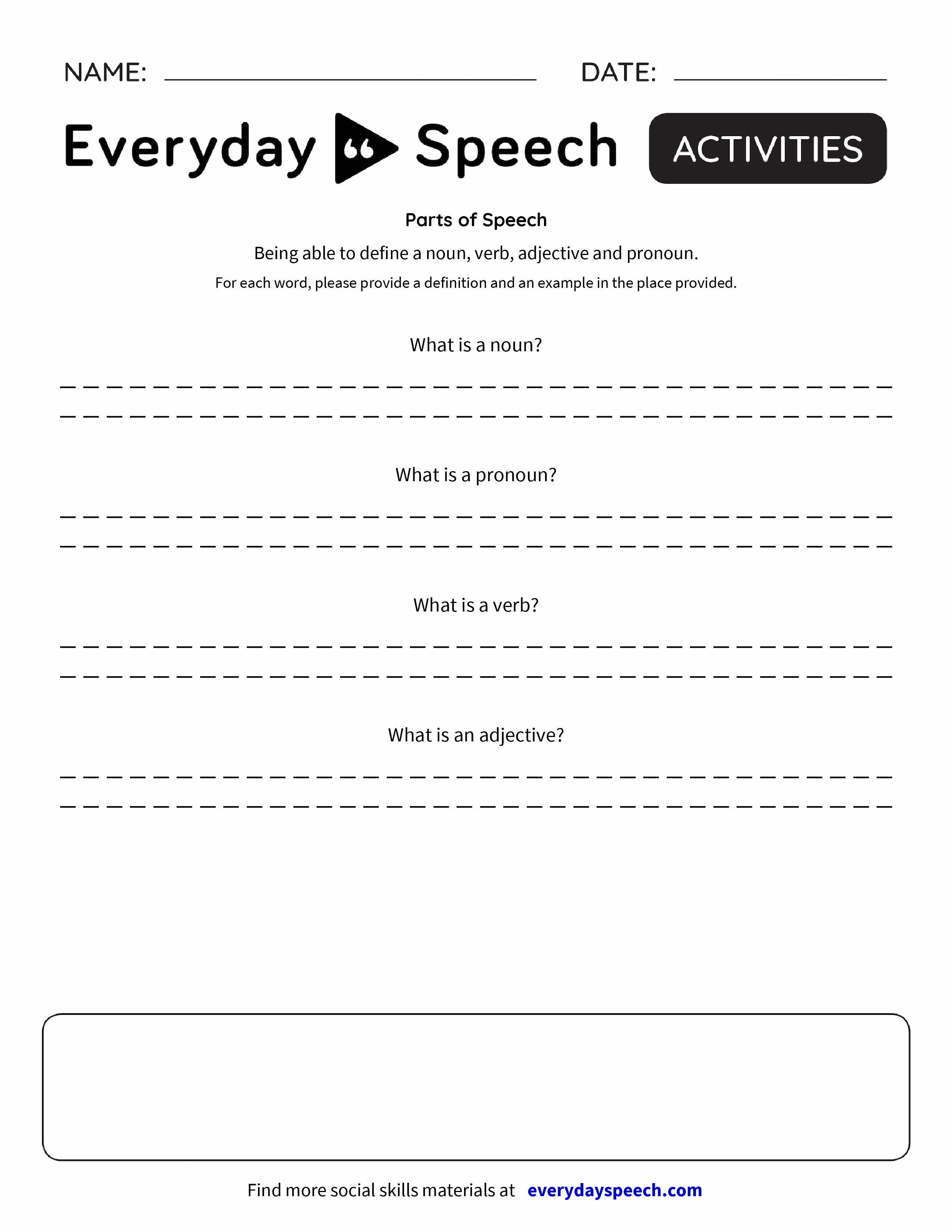 Free Worksheet Free Parts Of Speech Worksheets worksheets everyday speech speech