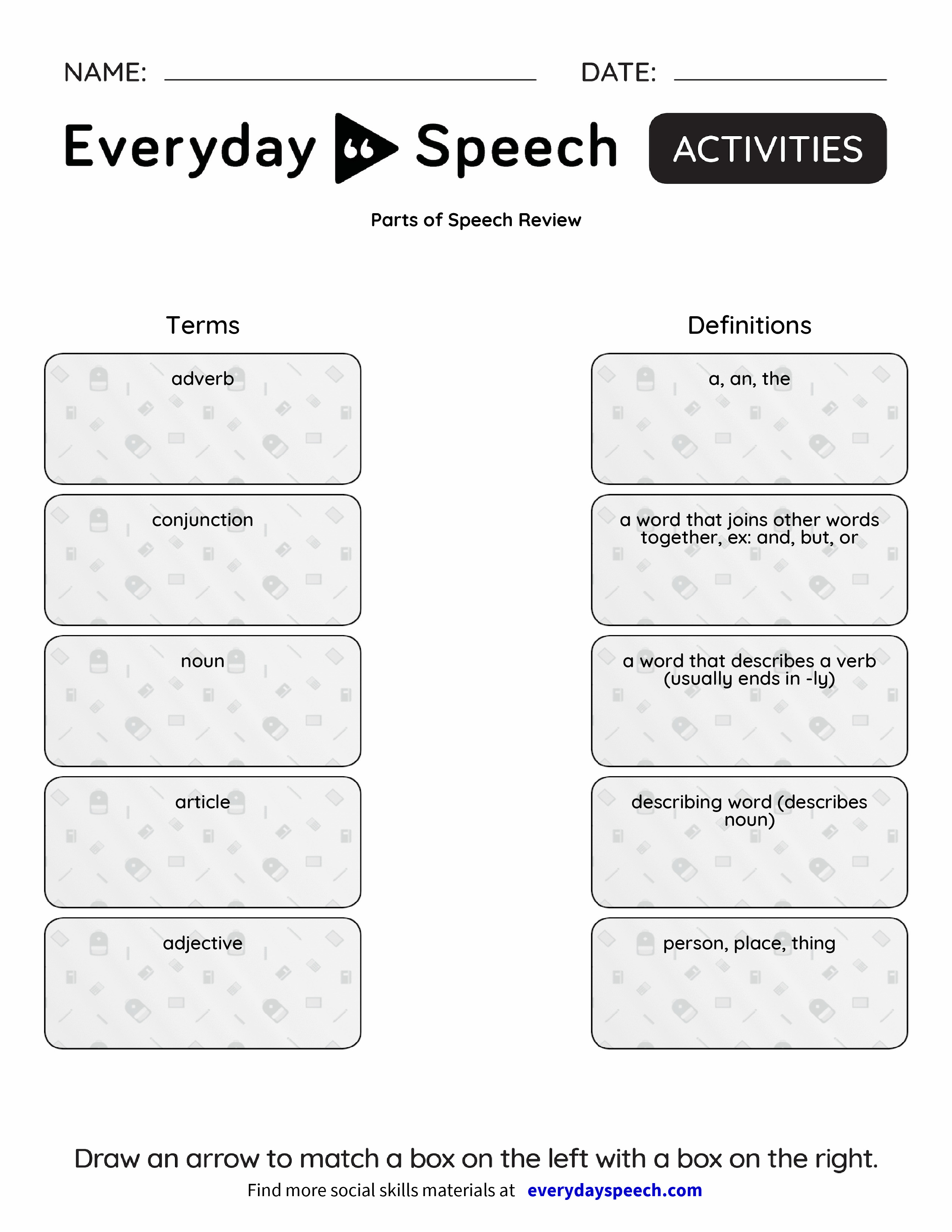 Worksheets Parts Of Speech Review Worksheet parts of speech review everyday preview preview