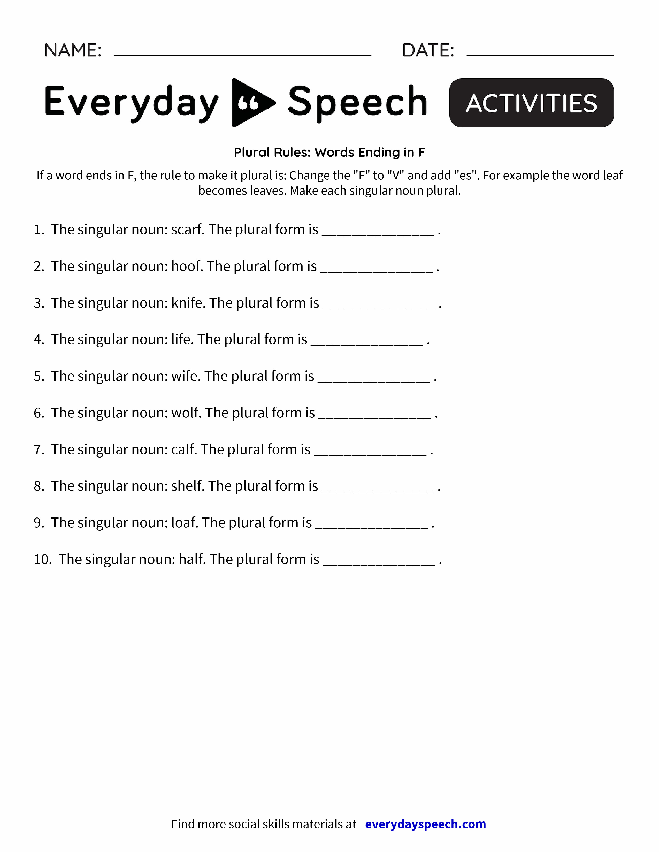 Plural Rules Words Ending In F Everyday Speech Everyday Speech