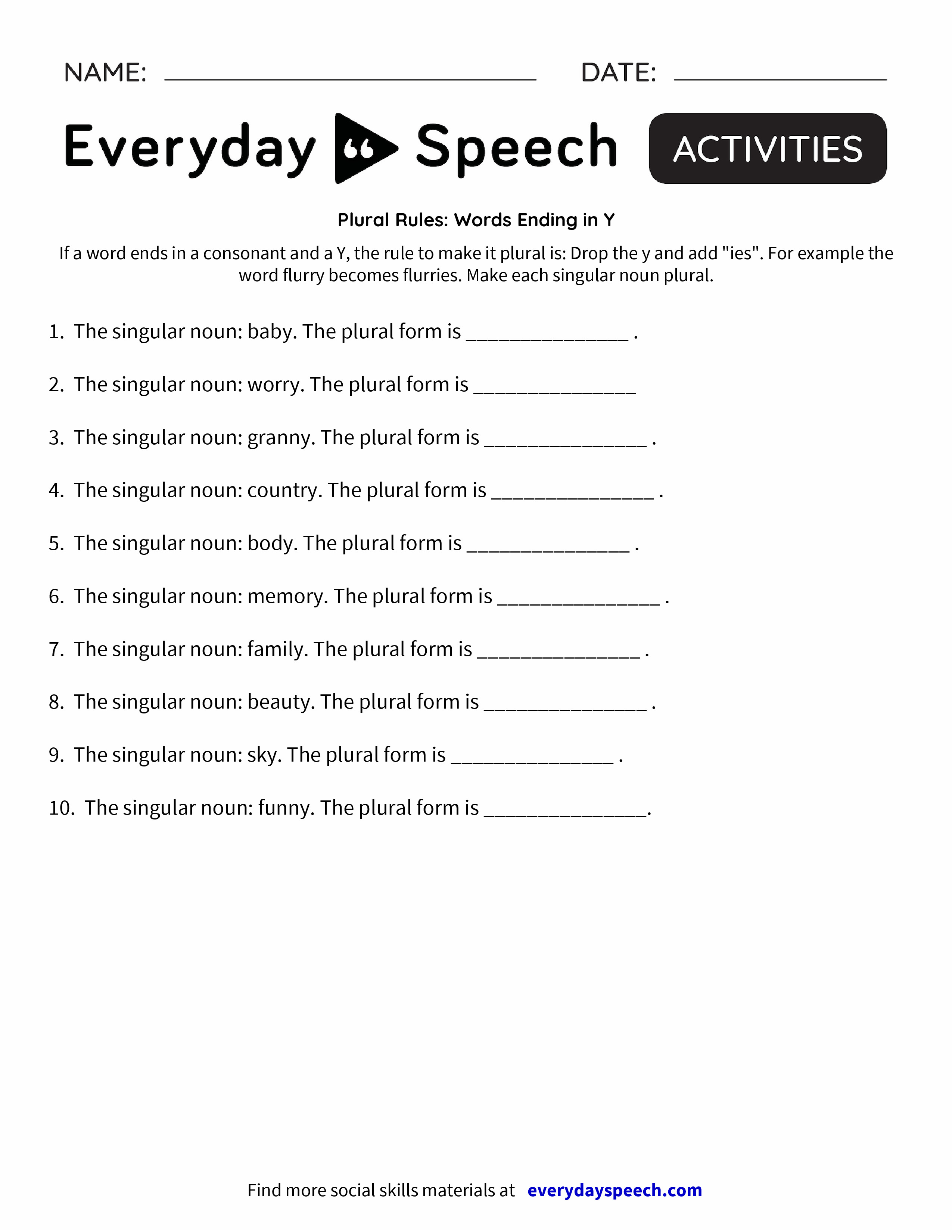 Plural Rules: Words Ending in Y - Everyday Speech - Everyday Speech