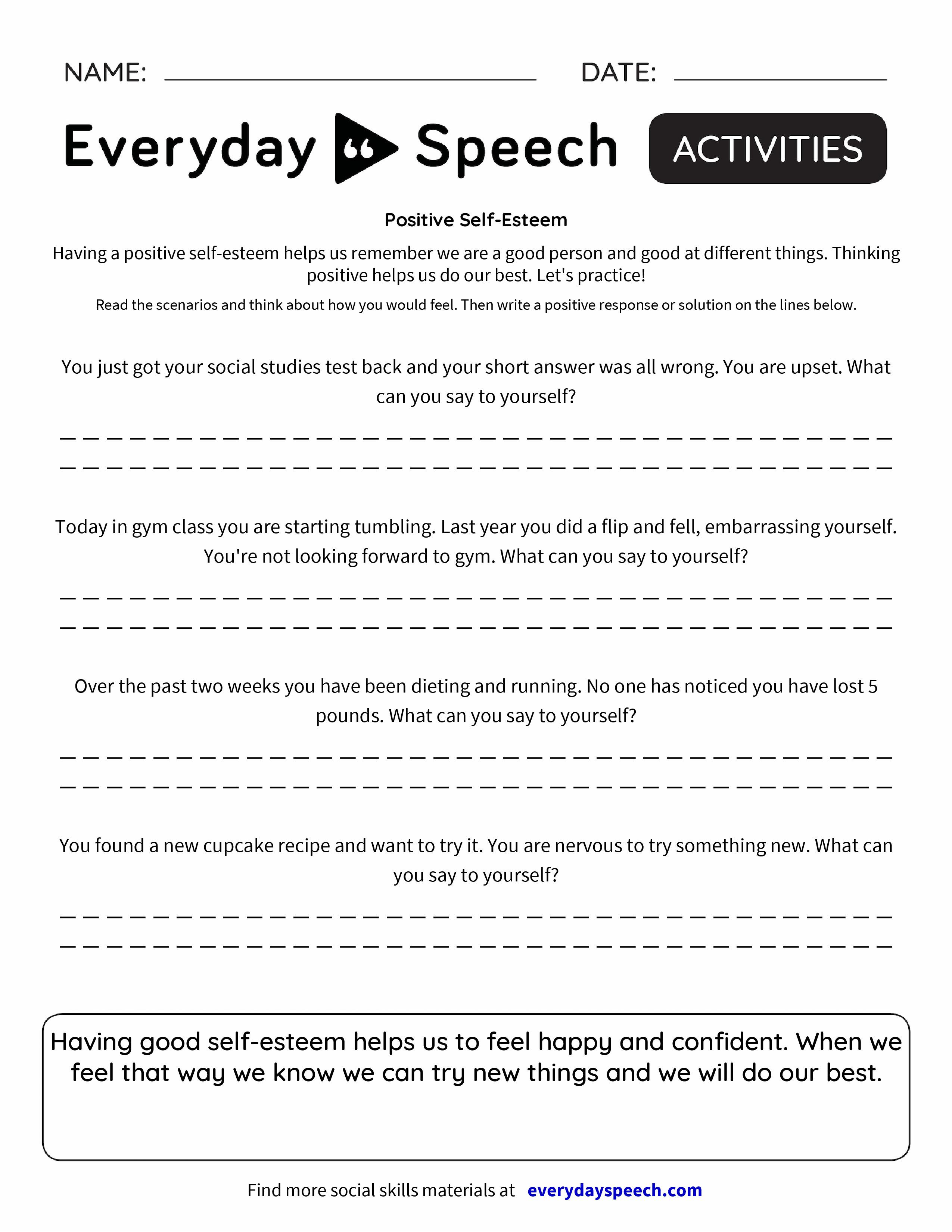 worksheet Self Esteem Worksheet positive self esteem everyday speech preview preview