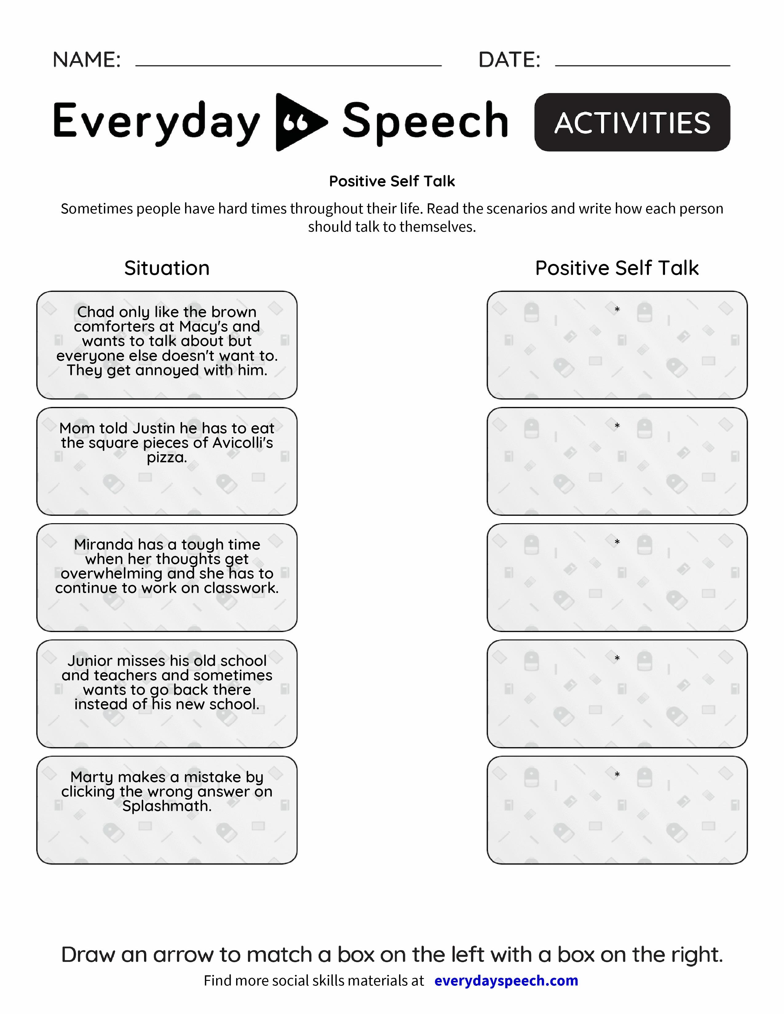 Worksheets Positive Self Talk Worksheet positive self talk everyday speech talk