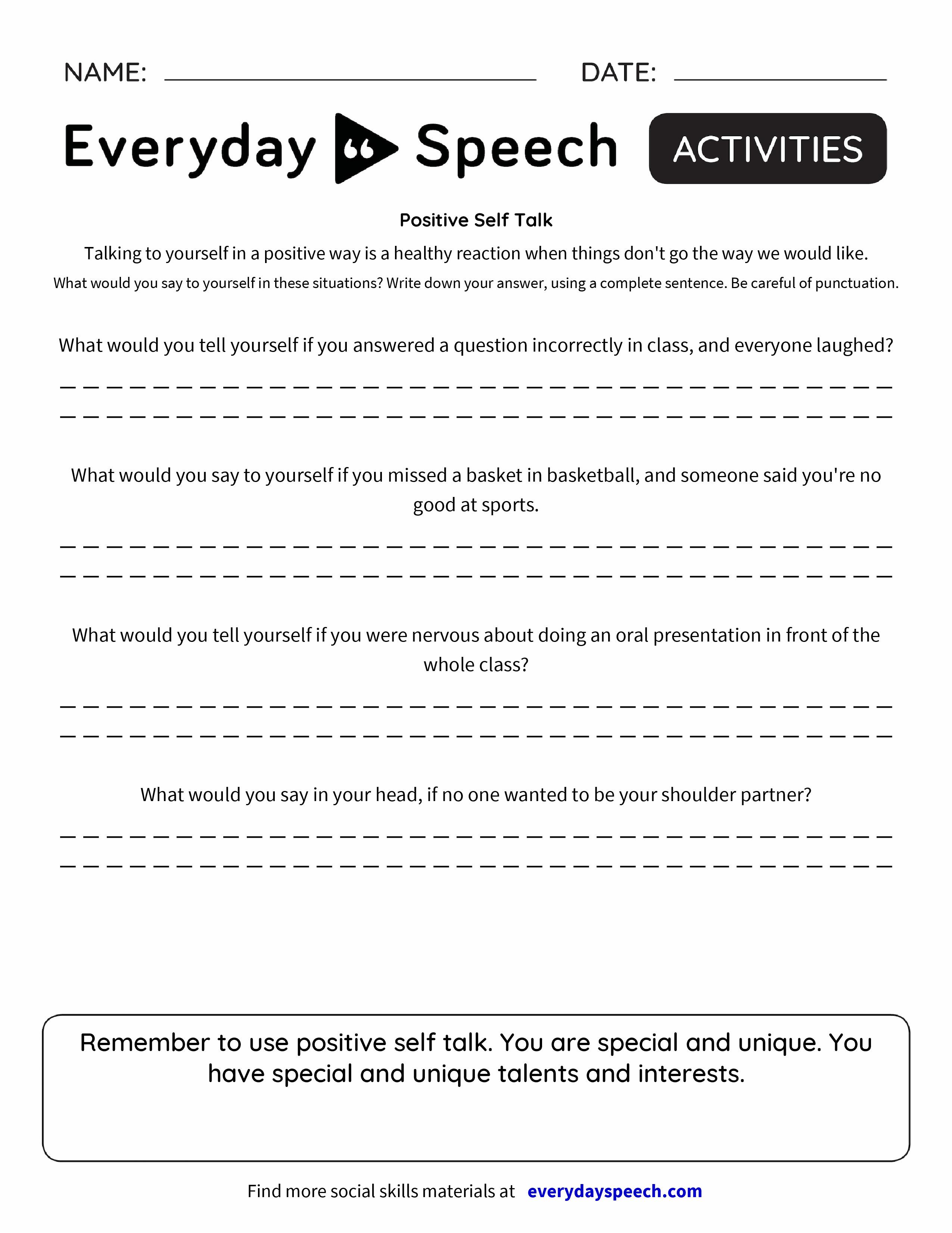 Worksheets Positive Self Talk Worksheet positive self talk everyday speech preview preview