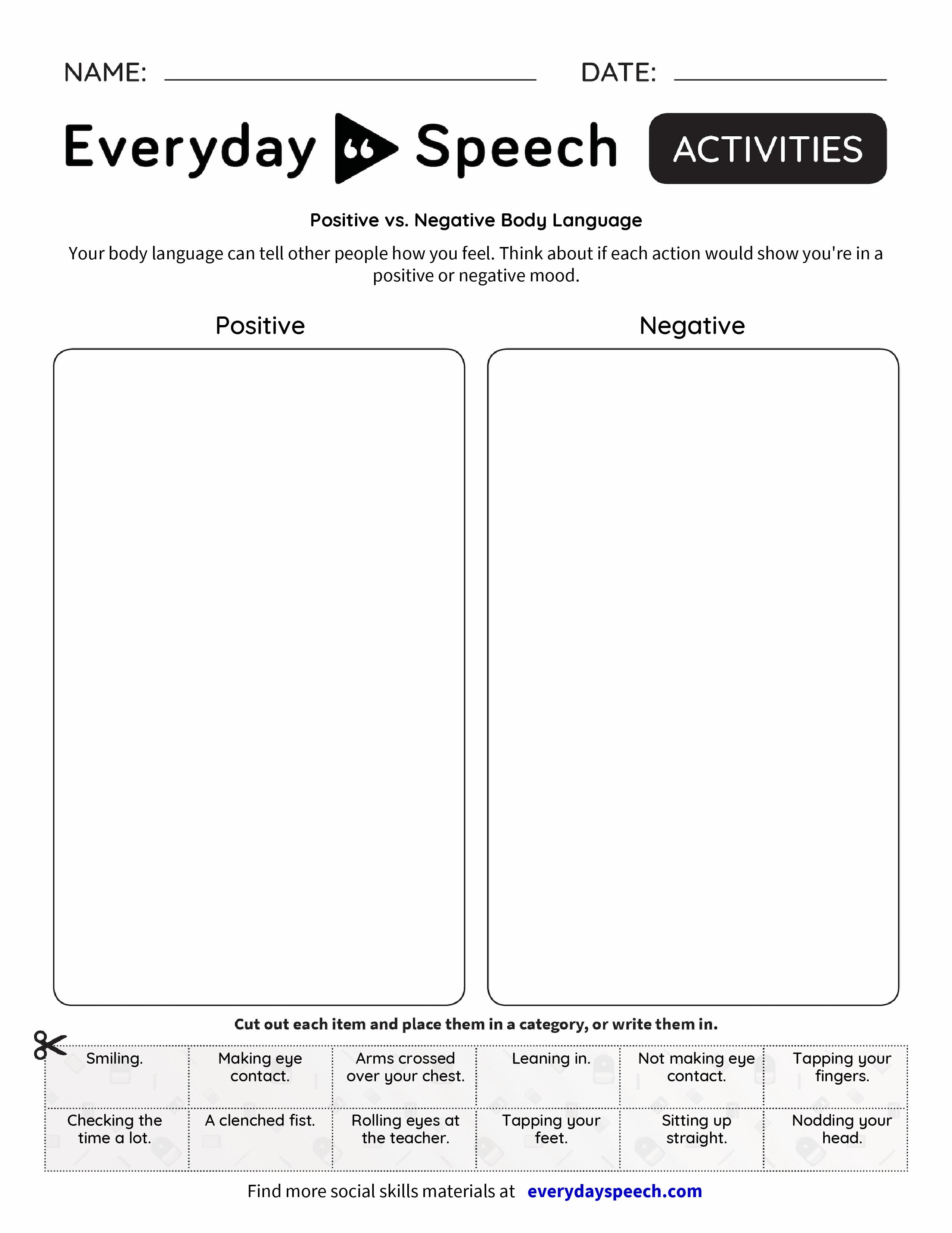 Positive Vs Negative Body Language Everyday Speech Everyday Speech