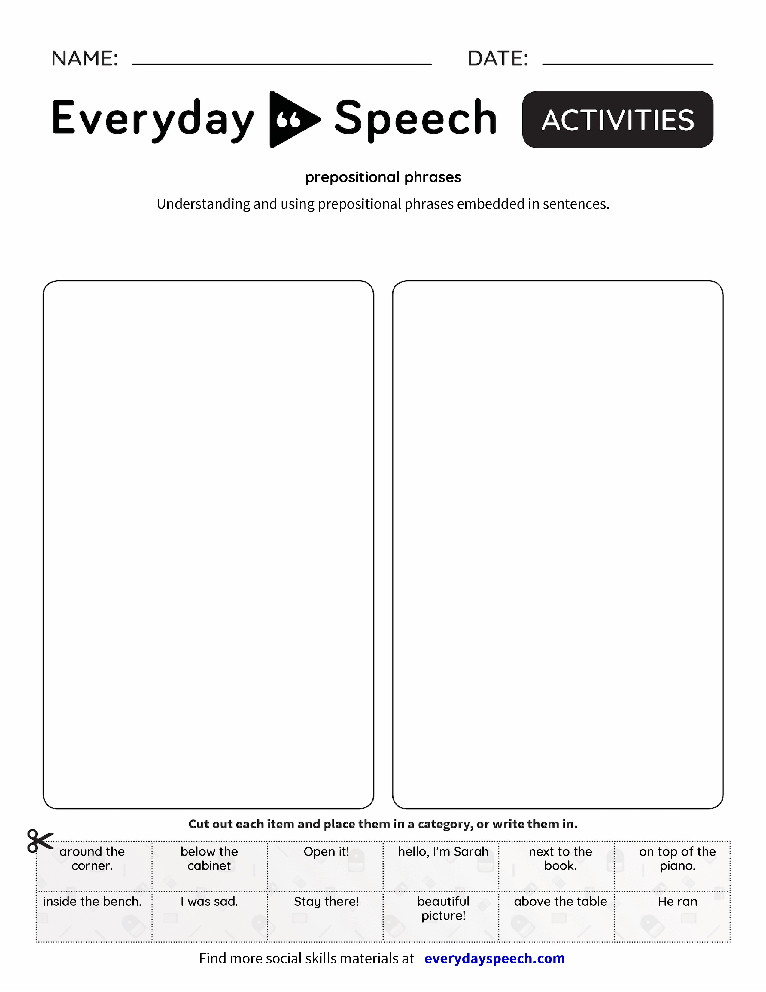 prepositional phrases - Everyday Speech - Everyday Speech