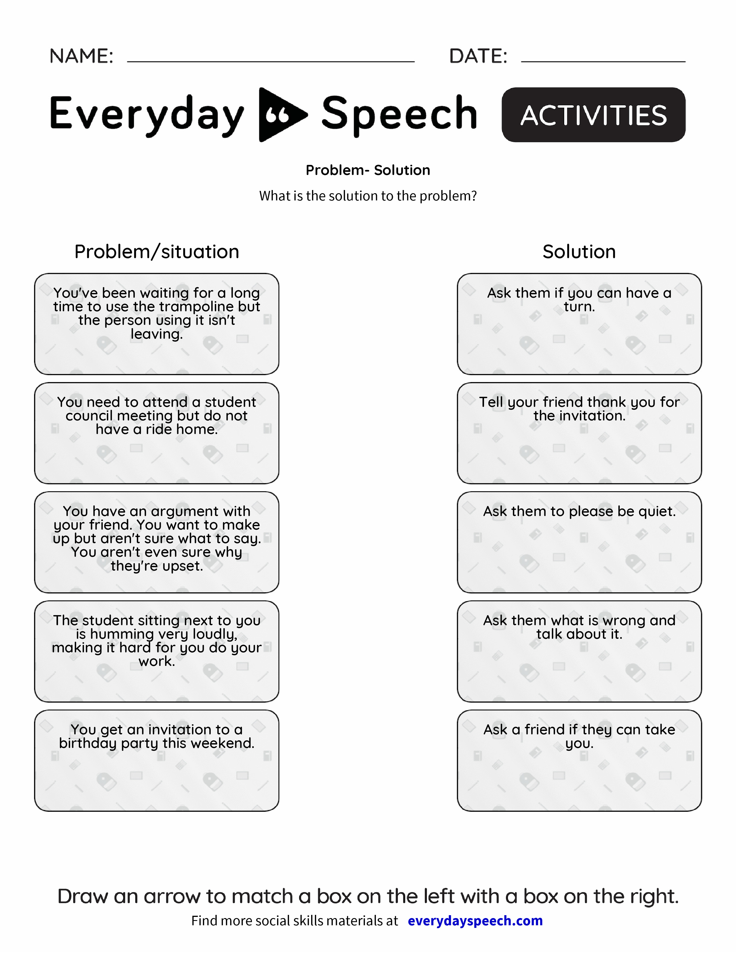 Worksheets Problem And Solution Worksheets problem solution everyday speech preview preview