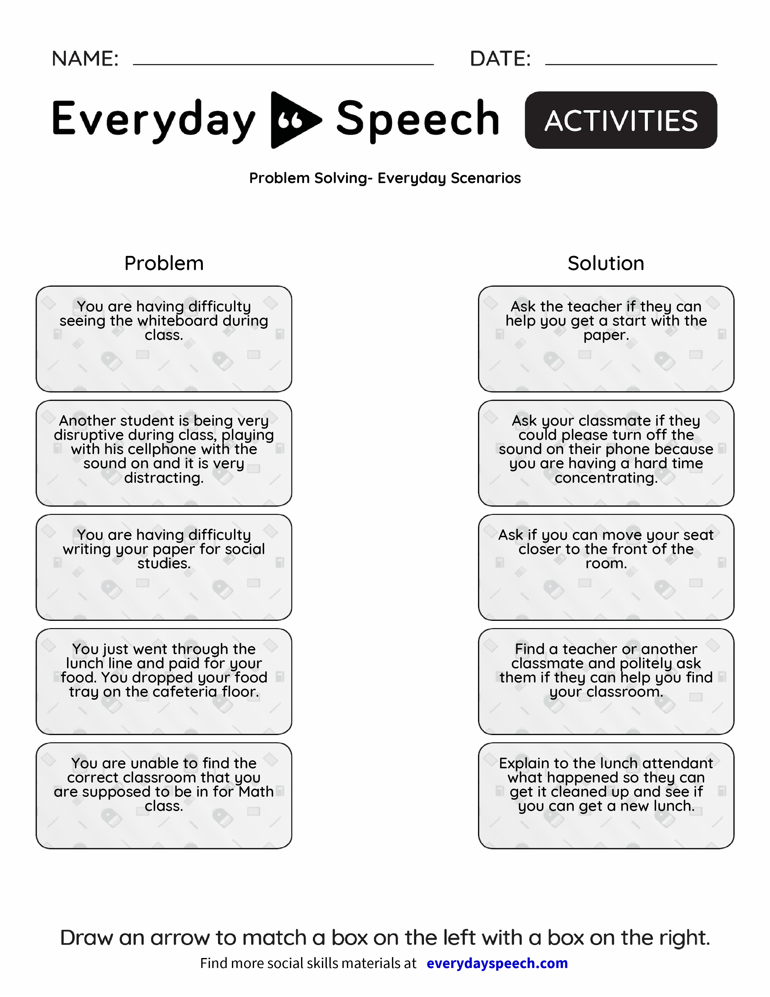 Worksheets Social Skills Problem Solving Worksheets problem solving everyday scenarios speech preview preview