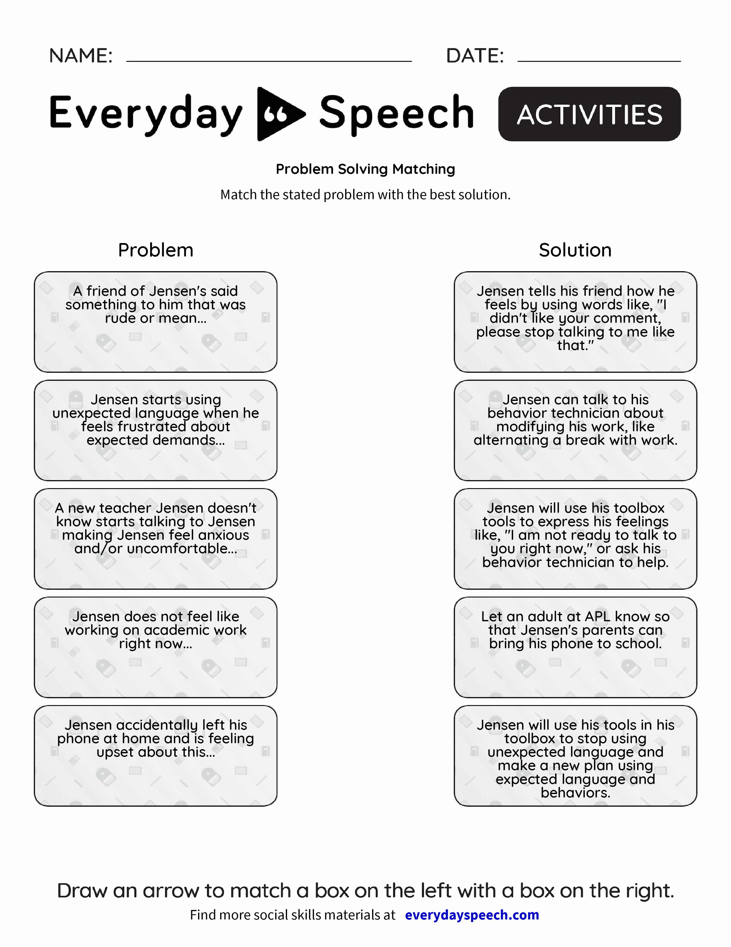 Problem Solving Matching Everyday Speech Everyday Speech