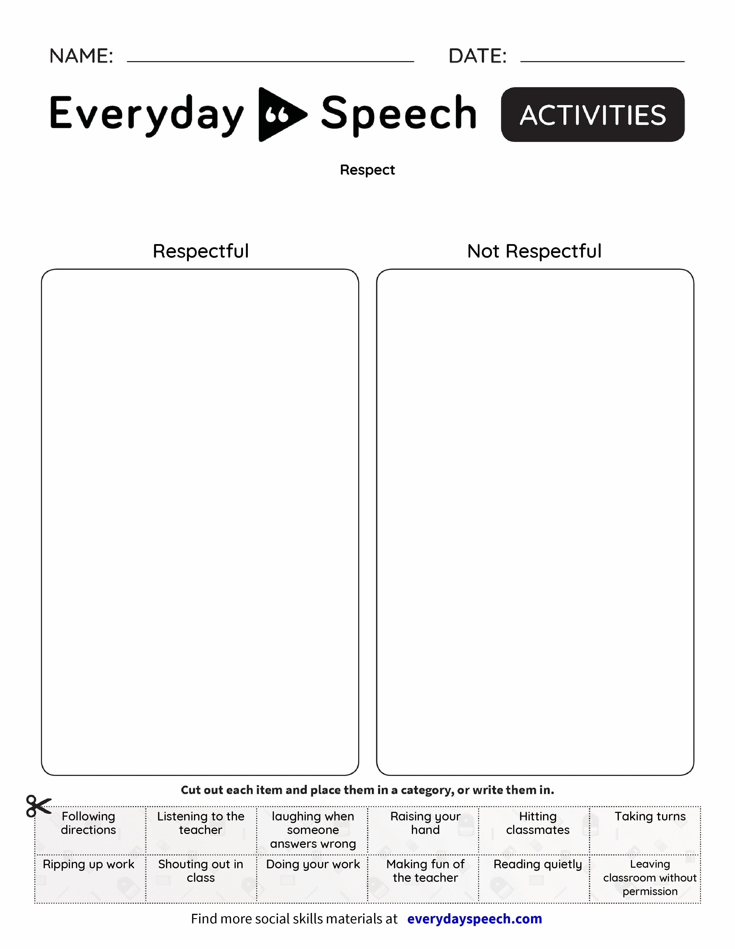 worksheet Worksheets On Respect respect everyday speech preview