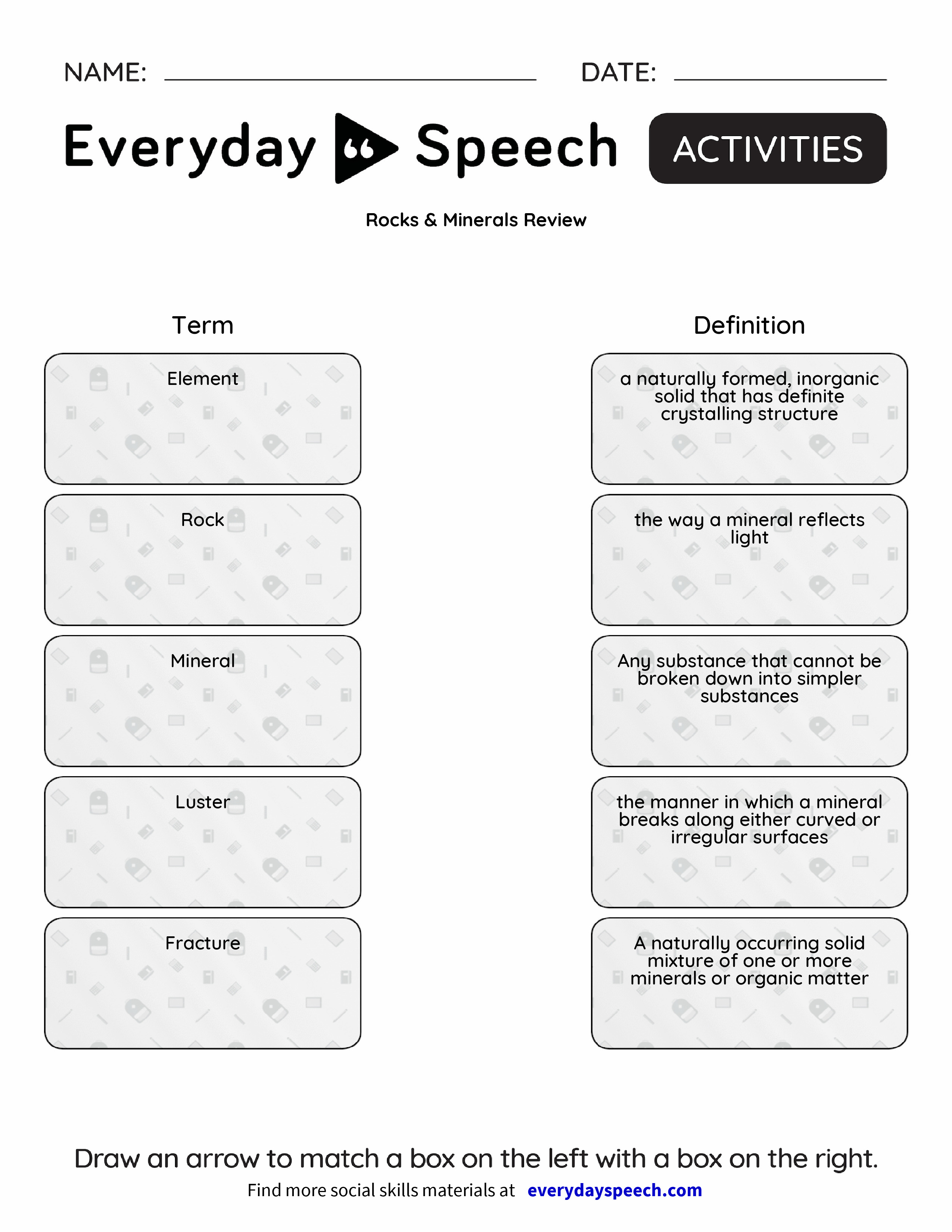 Worksheets Minerals Worksheet rocks minerals review everyday speech preview