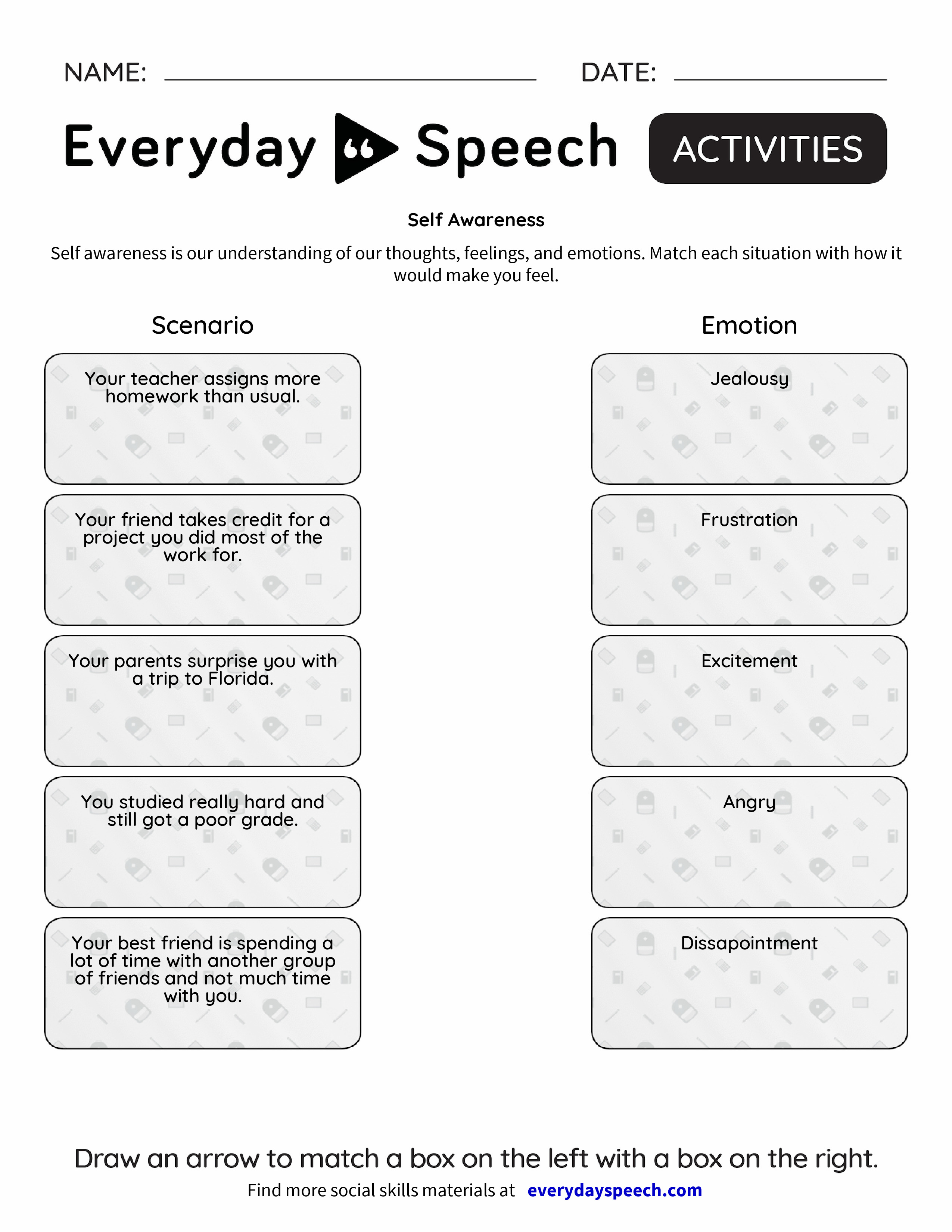 Worksheets Self Awareness Worksheets self awareness everyday speech preview preview