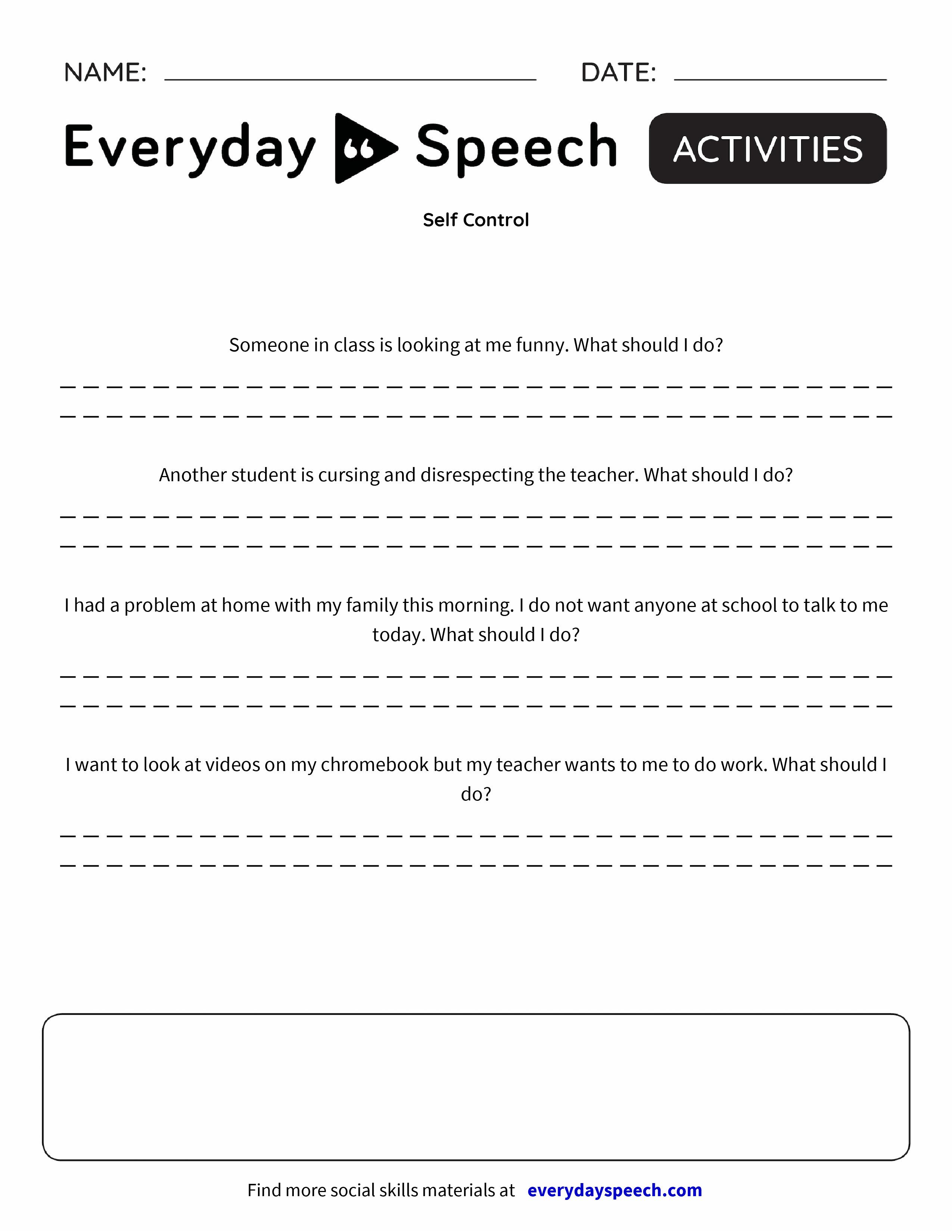 Self Control Everyday Speech Everyday Speech