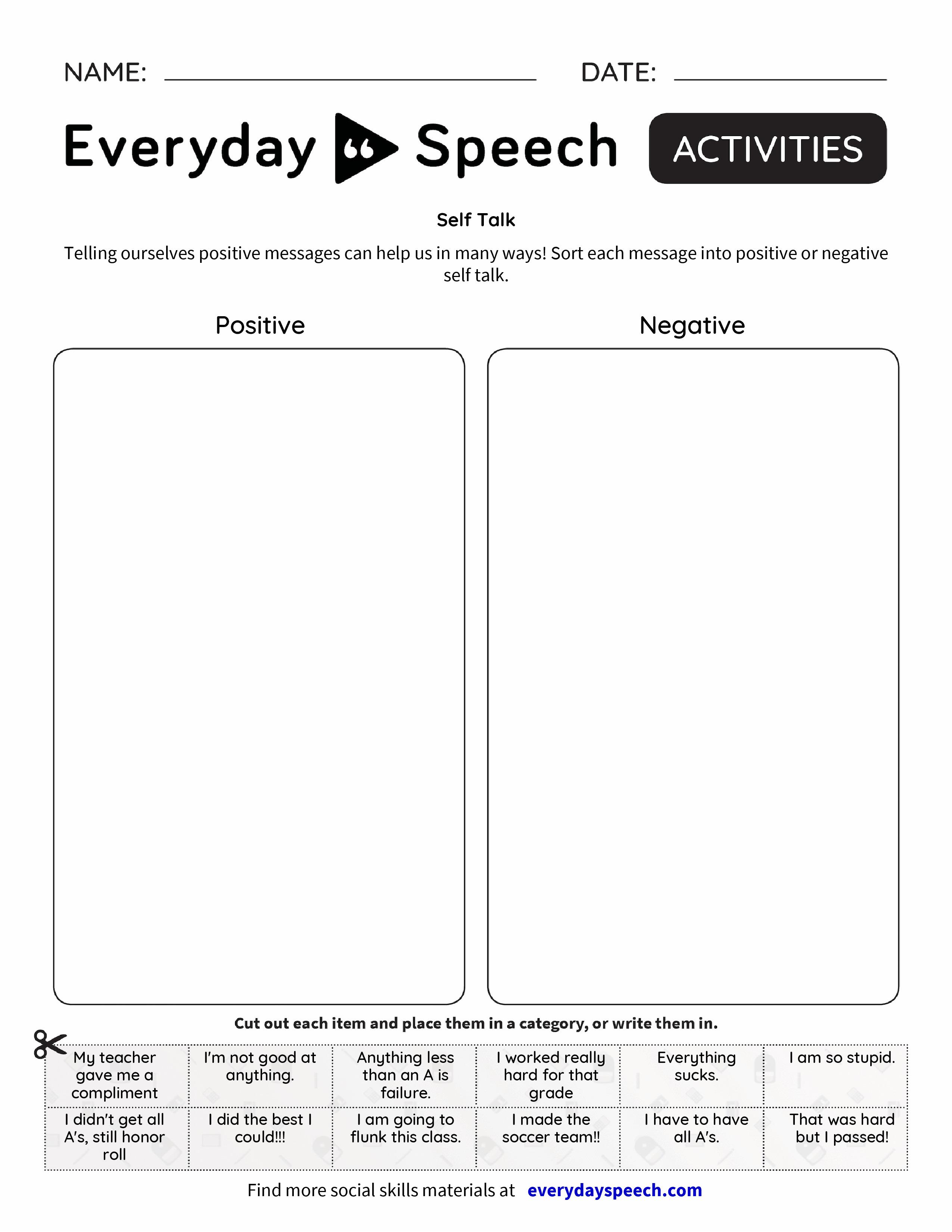 worksheet Negative Self Talk Worksheet self talk everyday speech preview preview