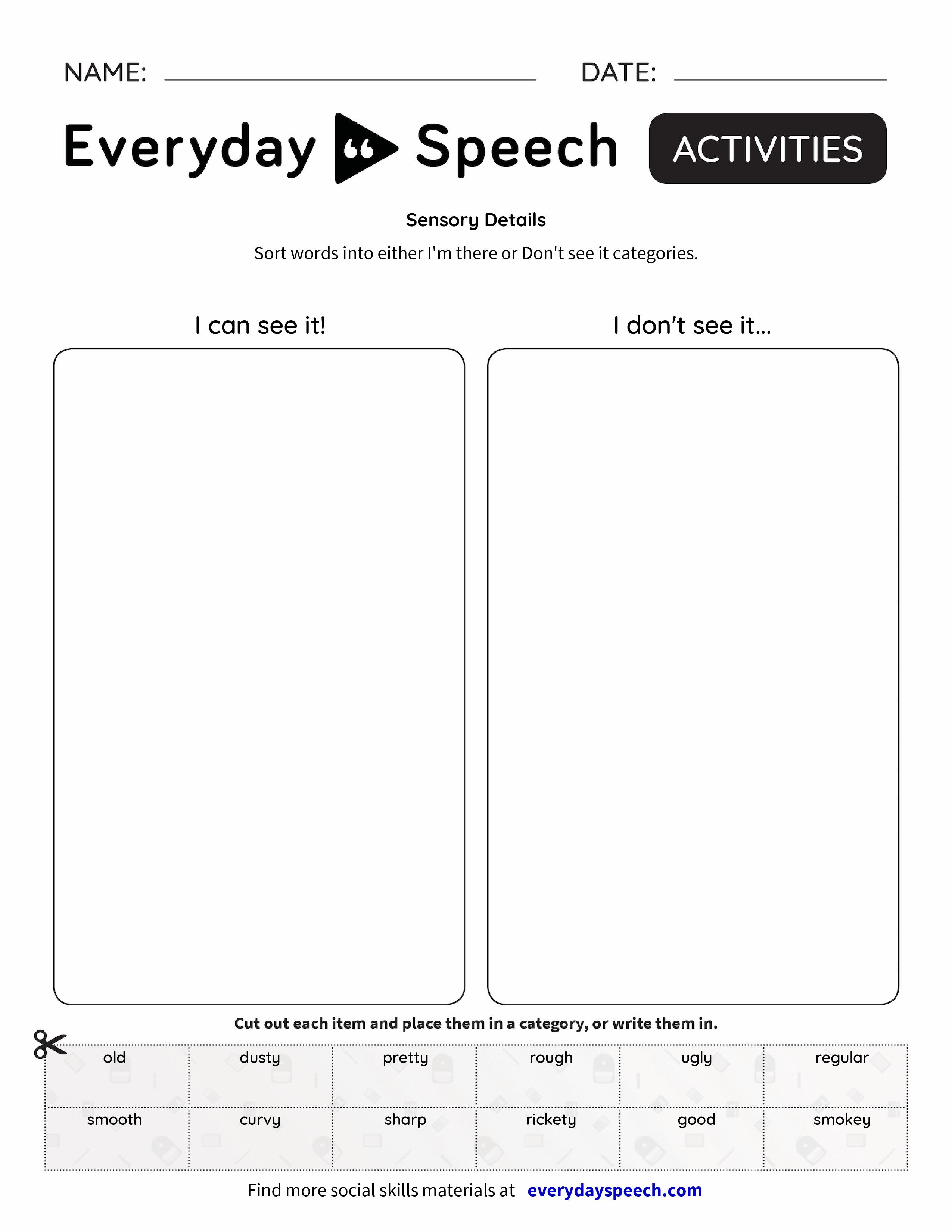 Worksheets Sensory Details Worksheet sensory details everyday speech details
