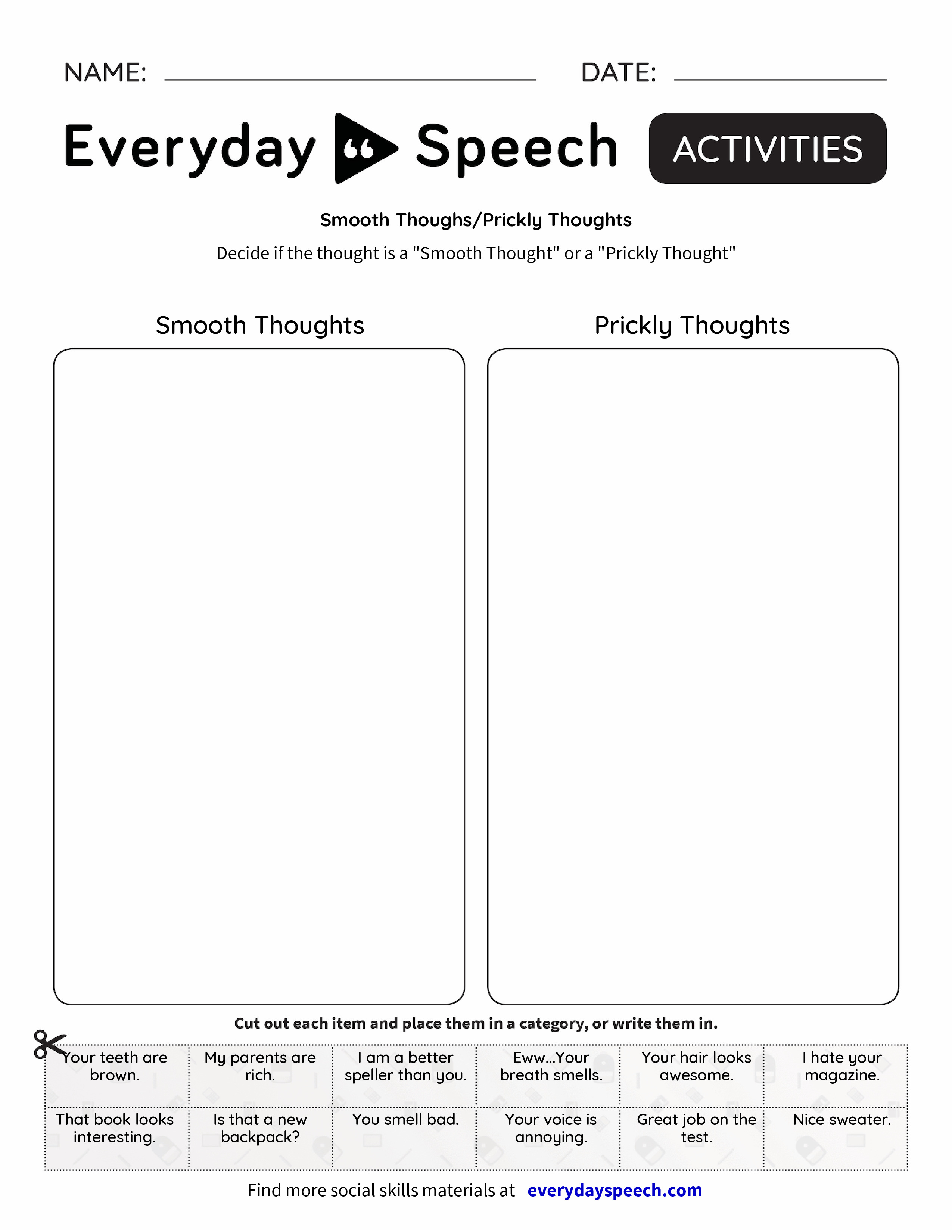 smooth thoughs prickly thoughts everyday speech everyday speech